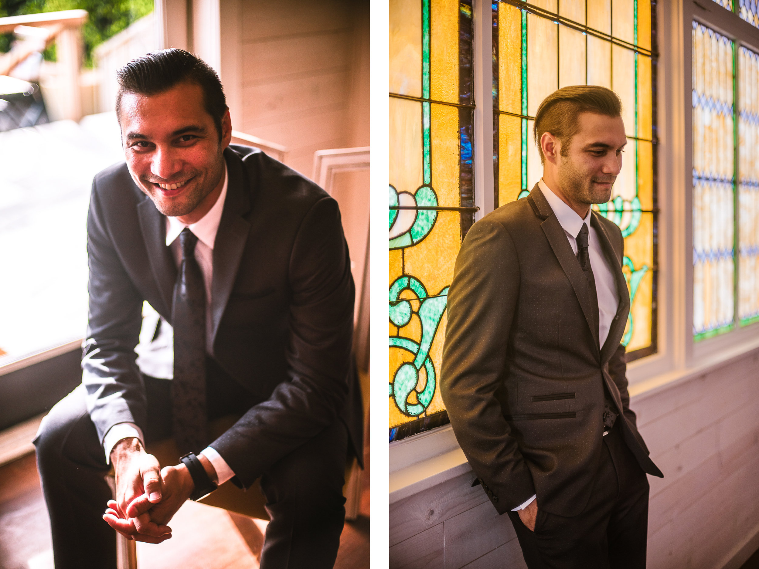 san diego wedding   photographer   collage of groom posing and leaning against stained glass