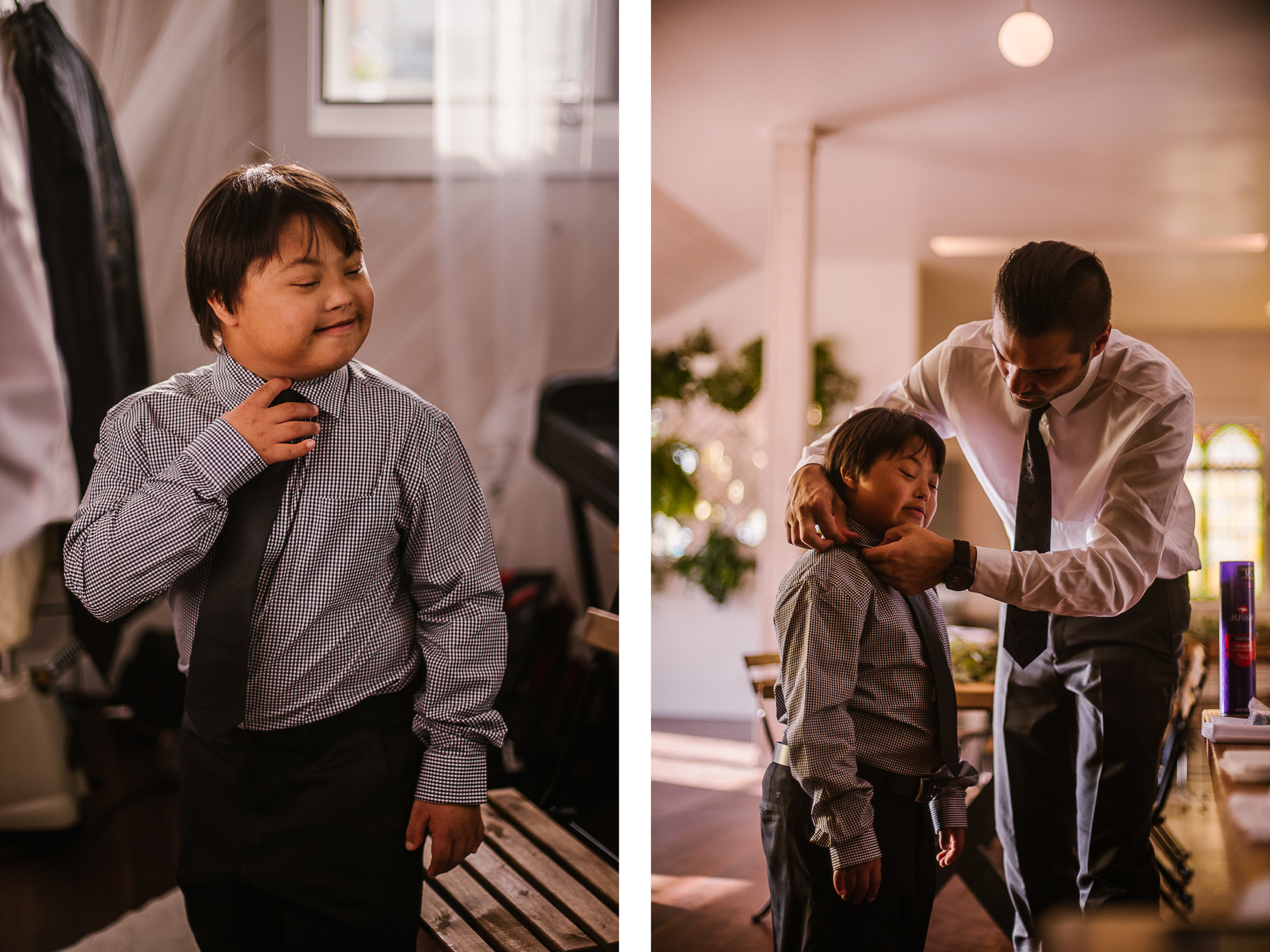 san diego wedding   photographer   collage of kid being dressed by man