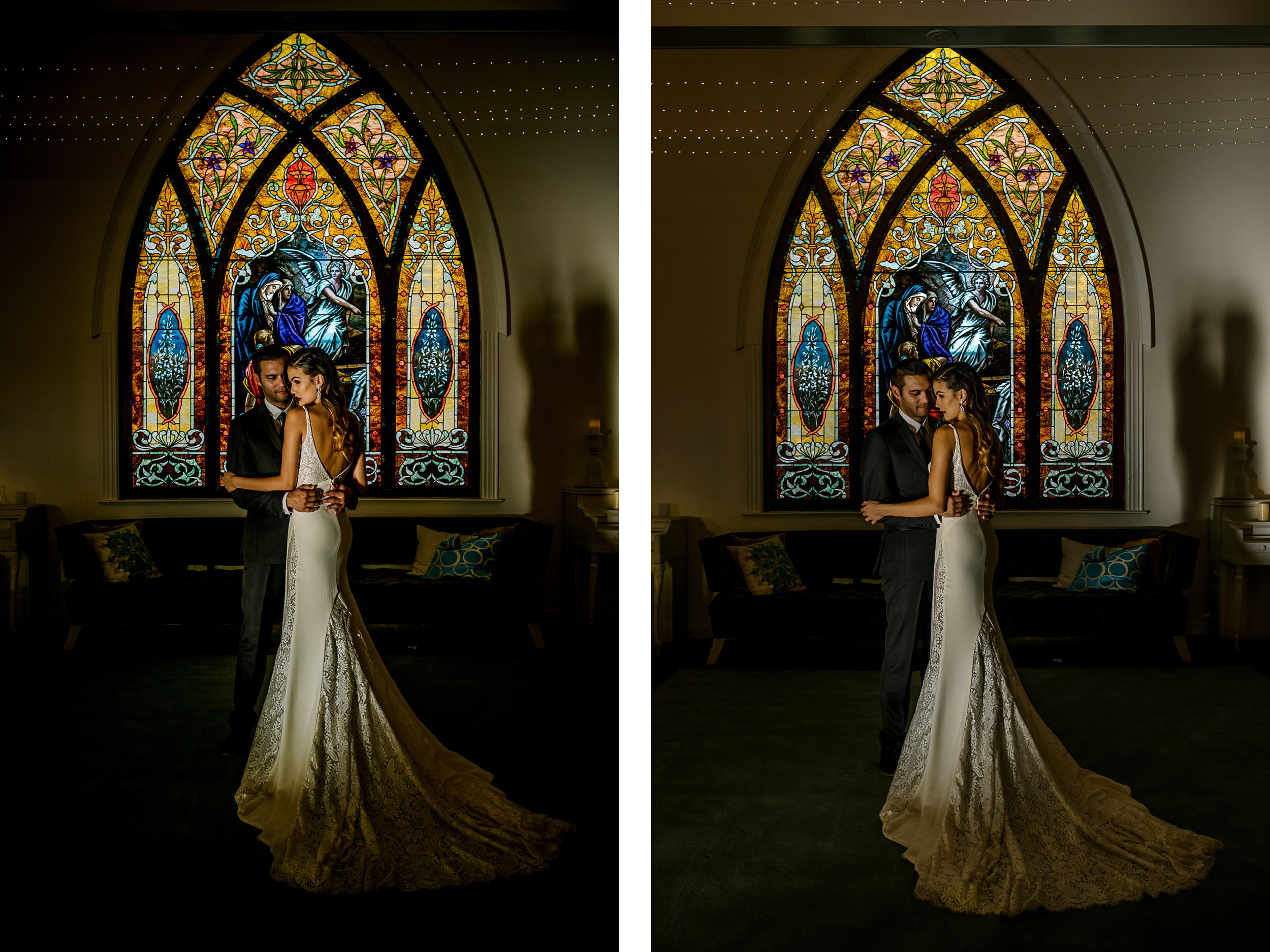 san diego wedding   photographer   collage of groom holding bride in front of stained glass mural