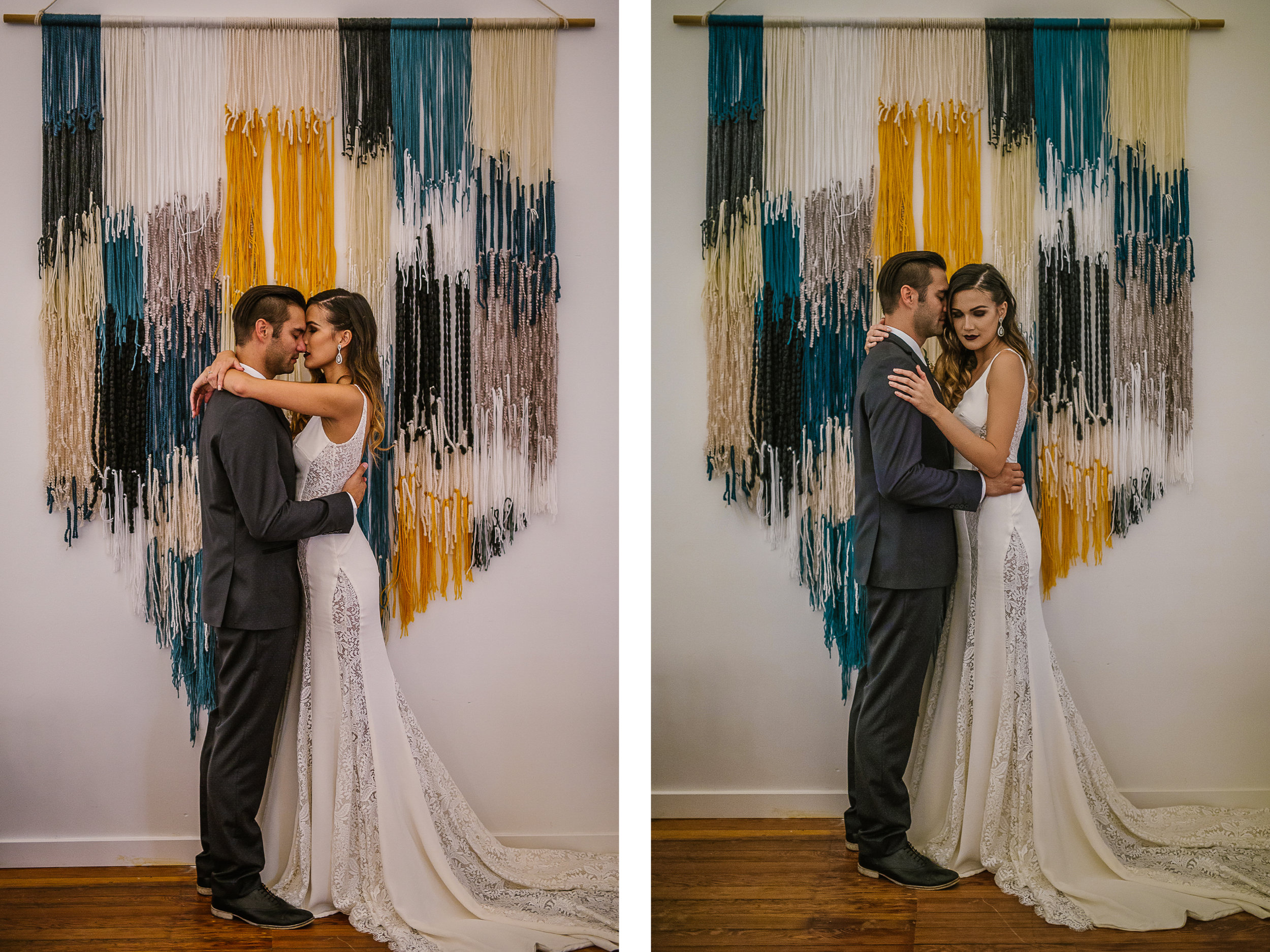 san diego wedding   photographer   collage of couple in front of wall decoration