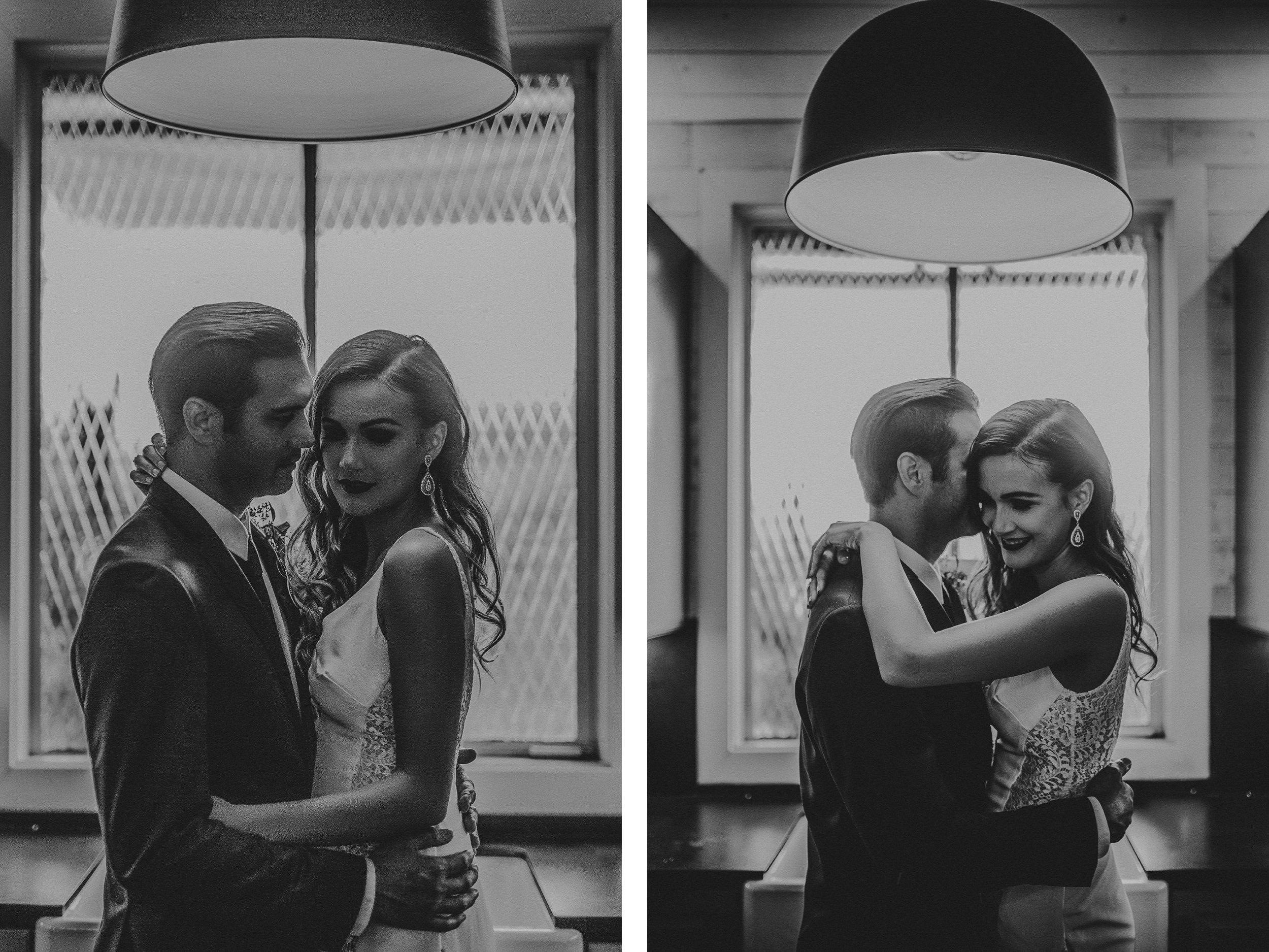 san diego wedding   photographer   bride and groom monotone shot under lighting