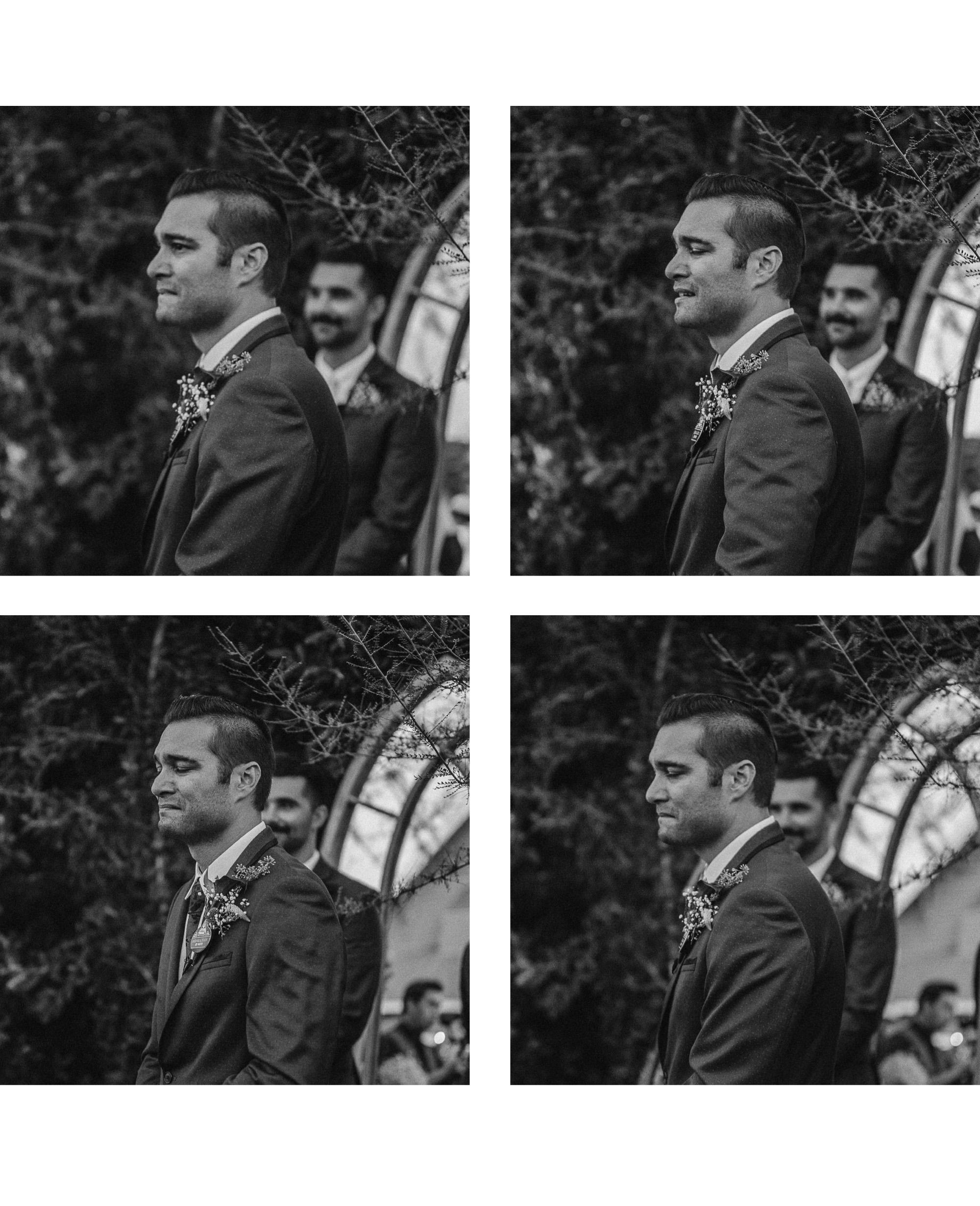 san diego wedding   photographer   collage of groom seeing bride walk down the aisle