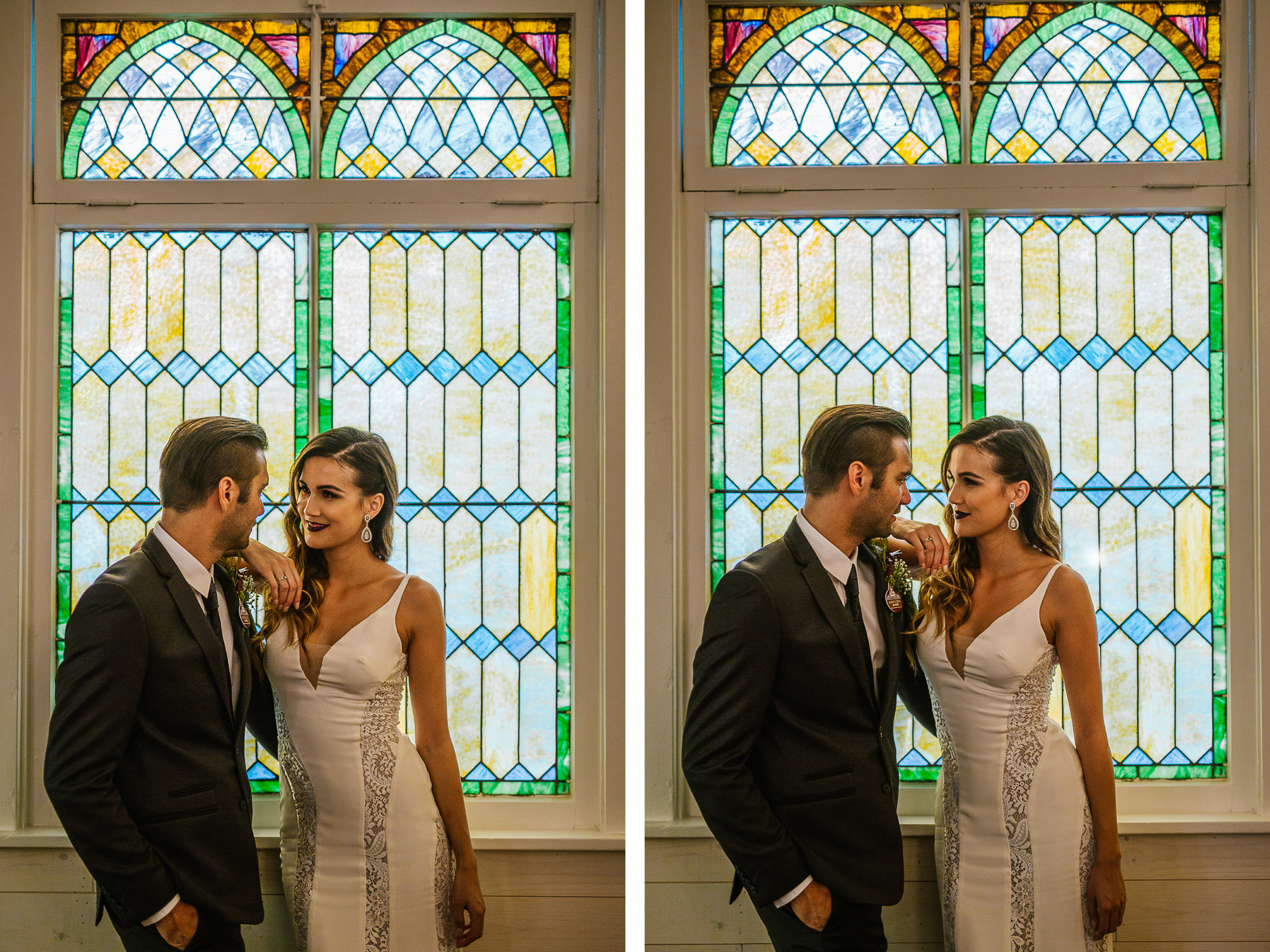 san diego wedding   photographer   bride and groom standing next to each other in front of   stained glass mural
