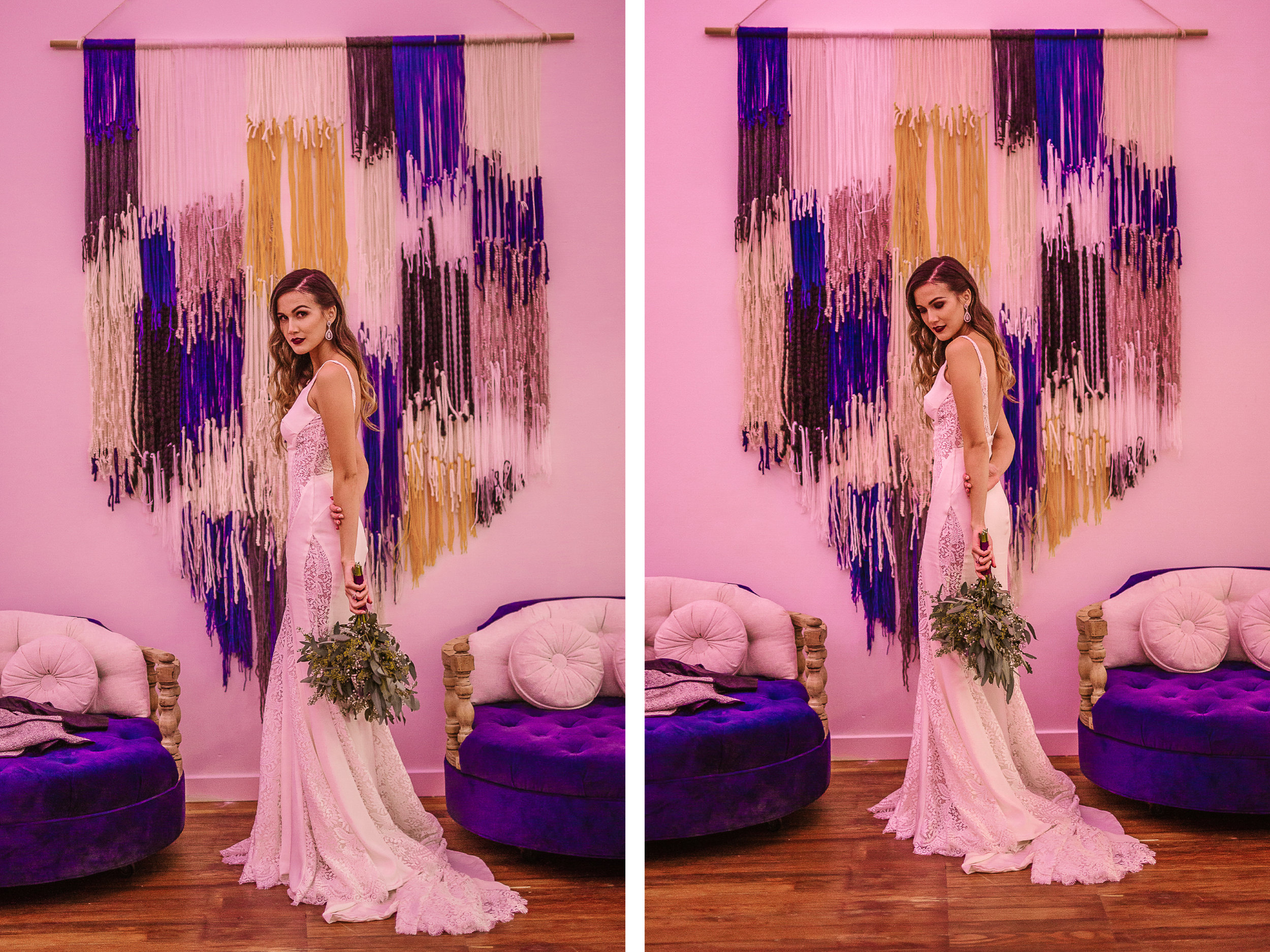 san diego wedding   photographer   collage of woman in wedding dress holding bouquet between   purple chairs