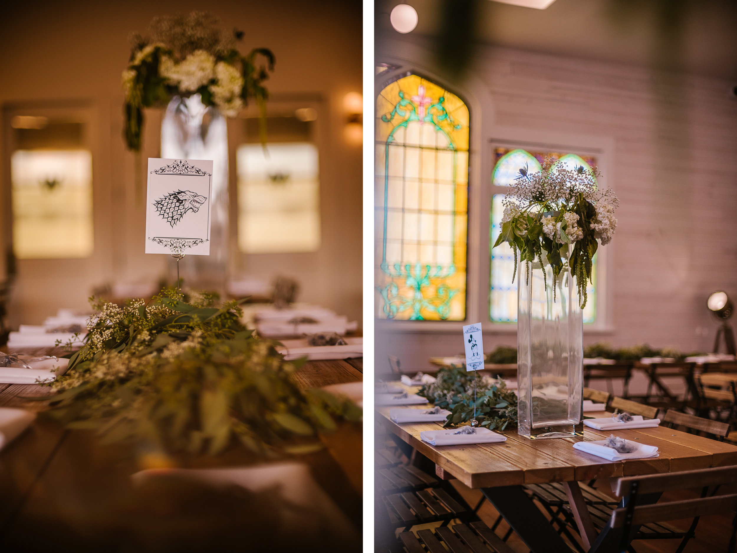 san diego wedding   photographer   collage of game of thrones-themed table decorations