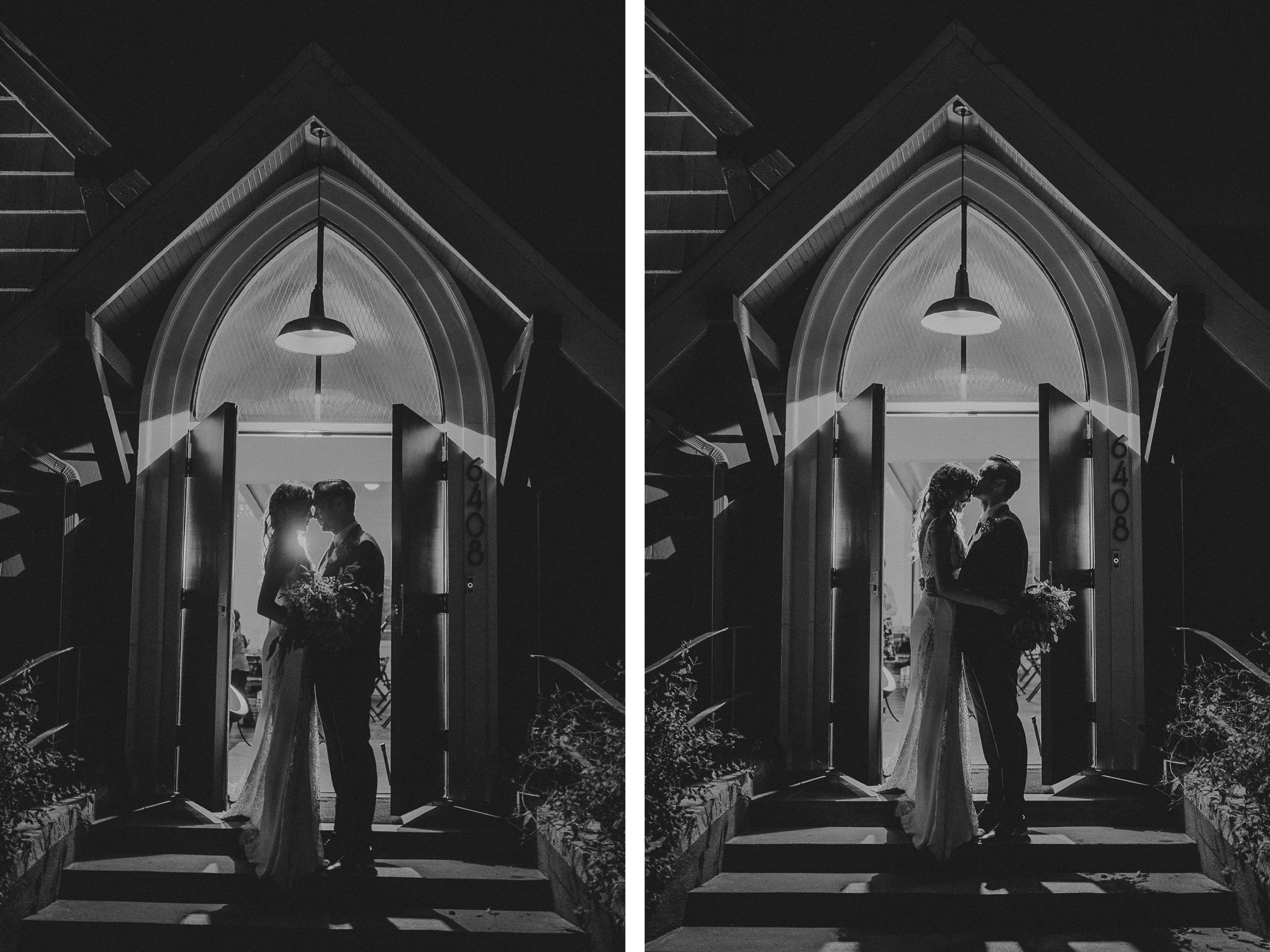 san diego wedding   photographer   monotone collage of man and woman in doorway