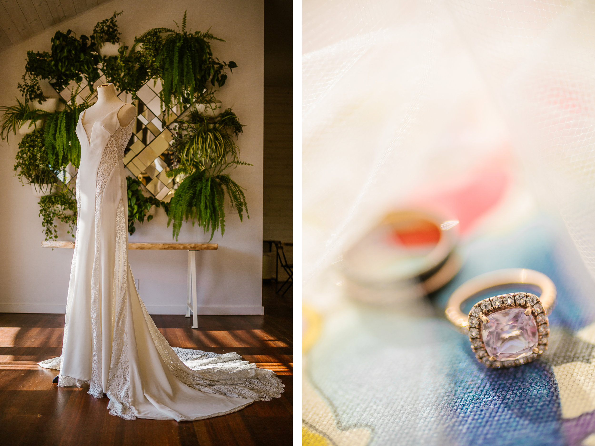 san diego wedding   photographer   collage of wedding dress on a mannequin and rings
