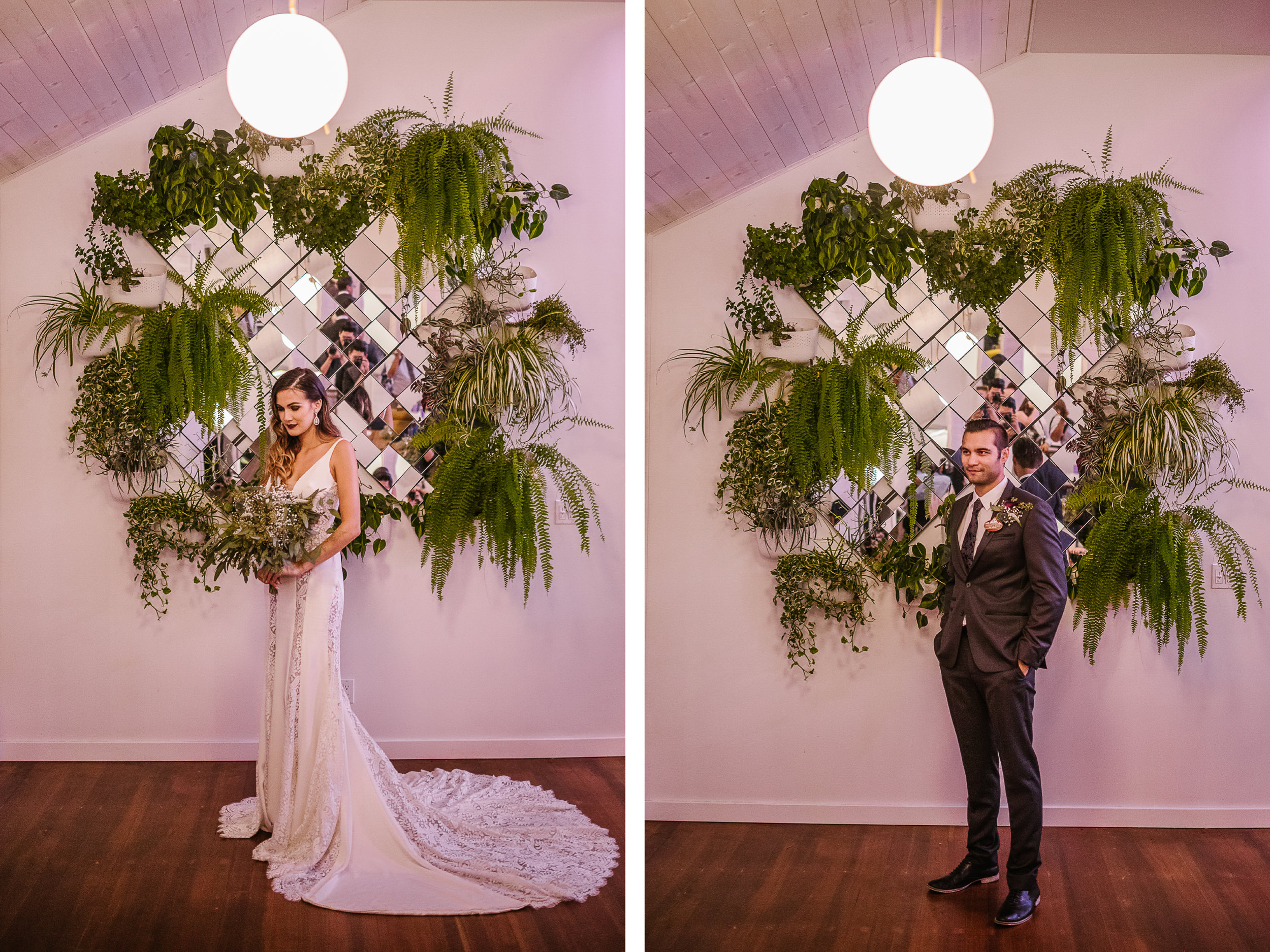 san diego wedding   photographer | collage of groom kissing woman's forehead in front of wall   decoration