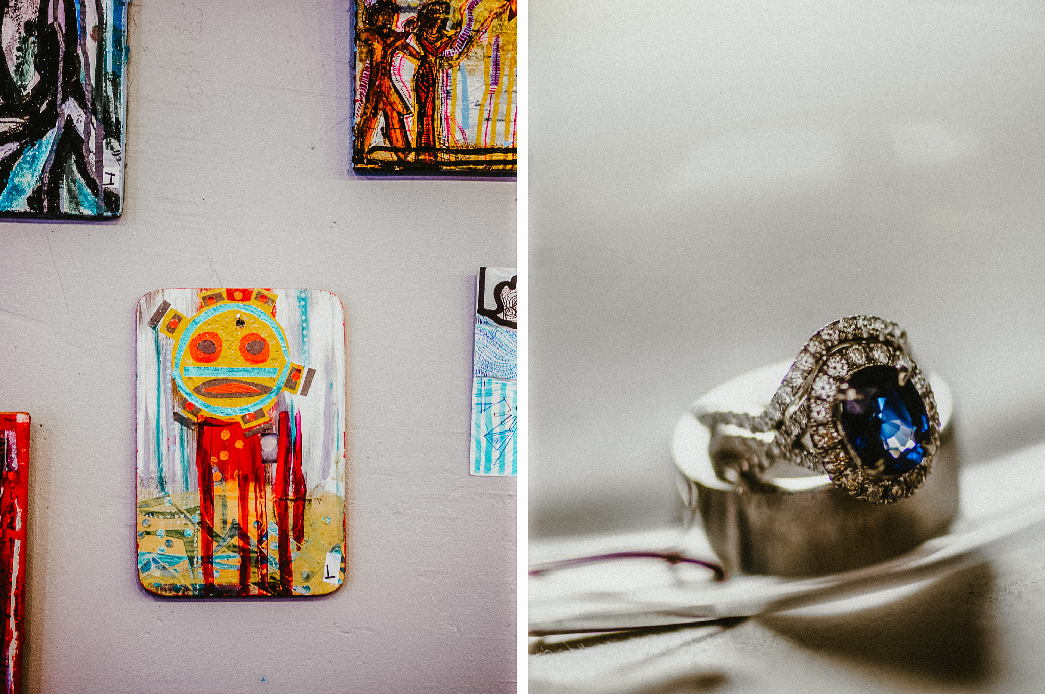 san diego wedding   photographer | collage of paintings and ring