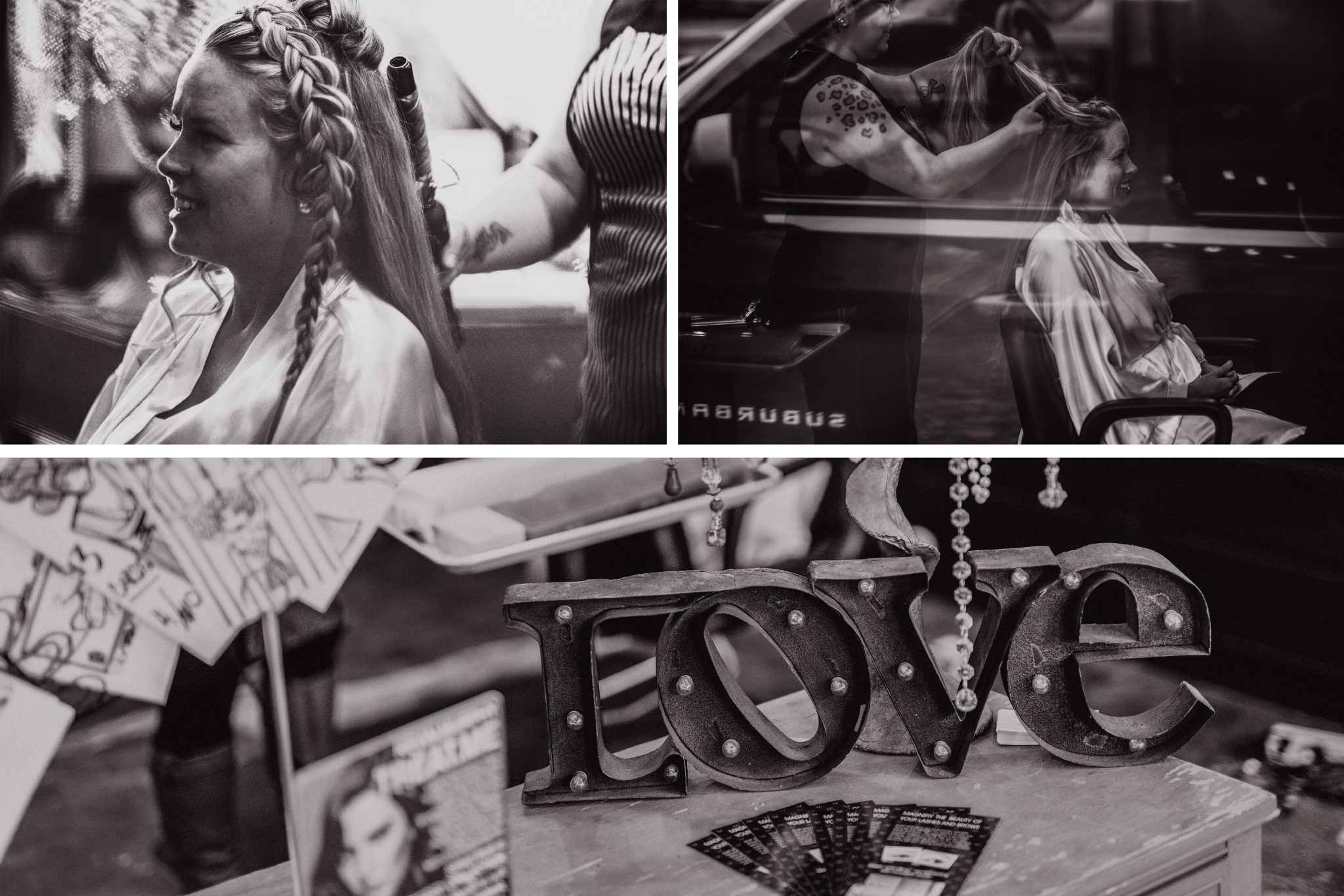 san diego wedding   photographer | monotone collage of woman with braids