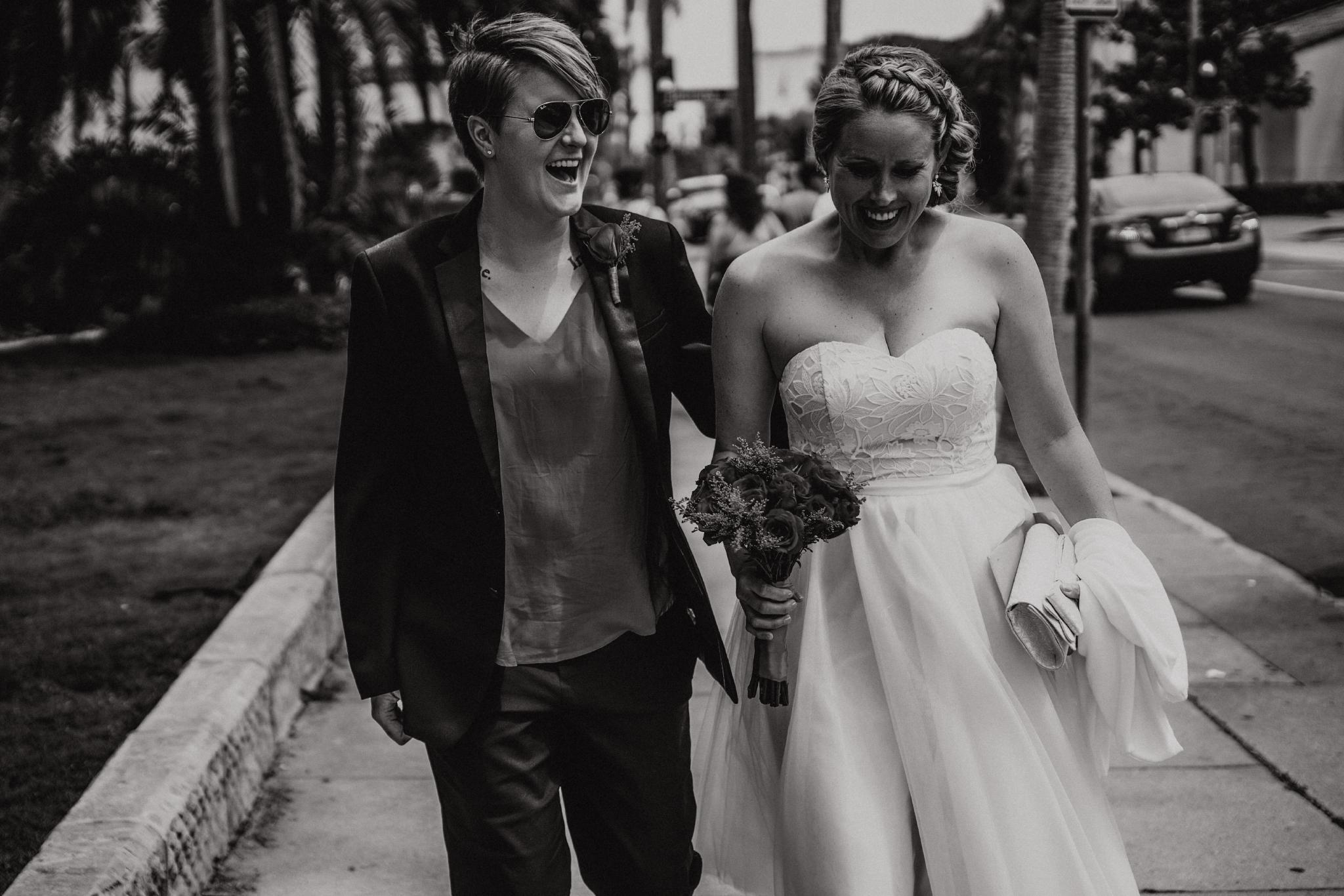 san diego wedding   photographer   women walking down the sidewalk