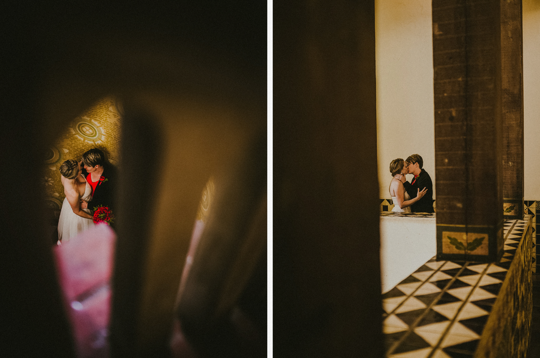 san diego wedding   photographer | collage of women kissing seen through space