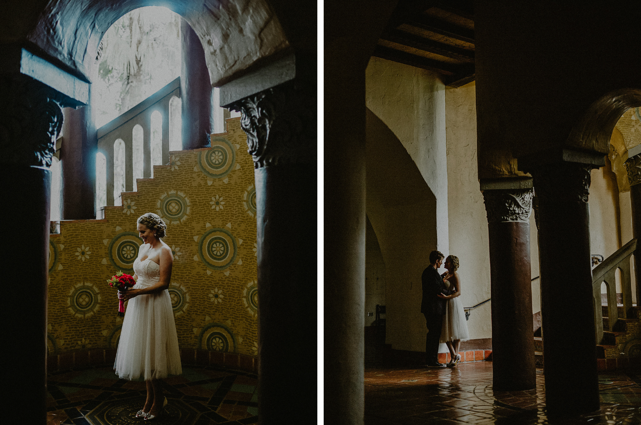 san diego wedding   photographer   collage of women posing near staircase