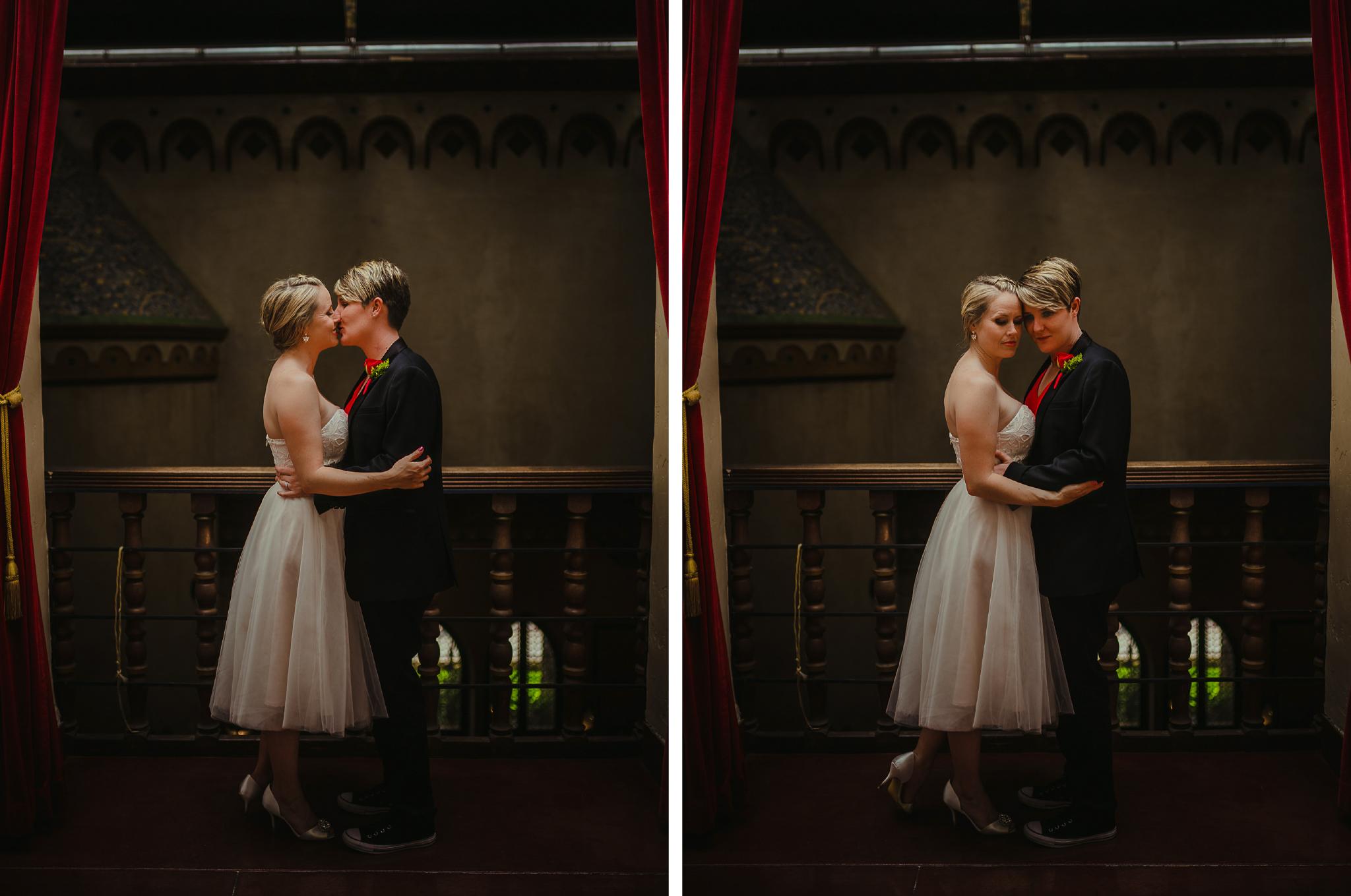 san diego wedding   photographer   collage of women kissing near railing