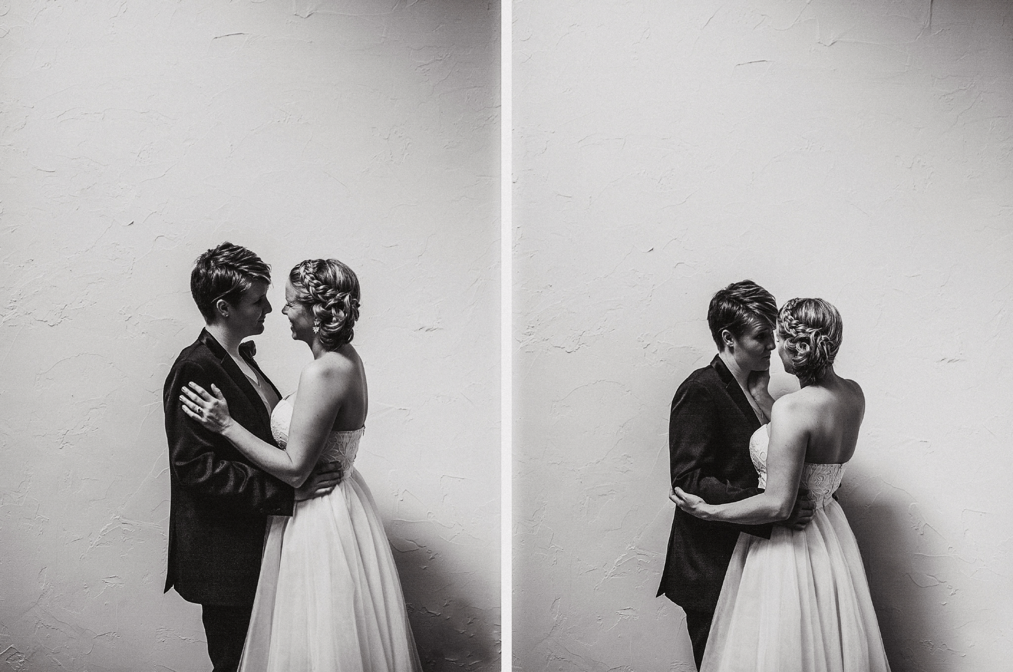 san diego wedding   photographer | monotone collage of women looking into each other in front of   wall