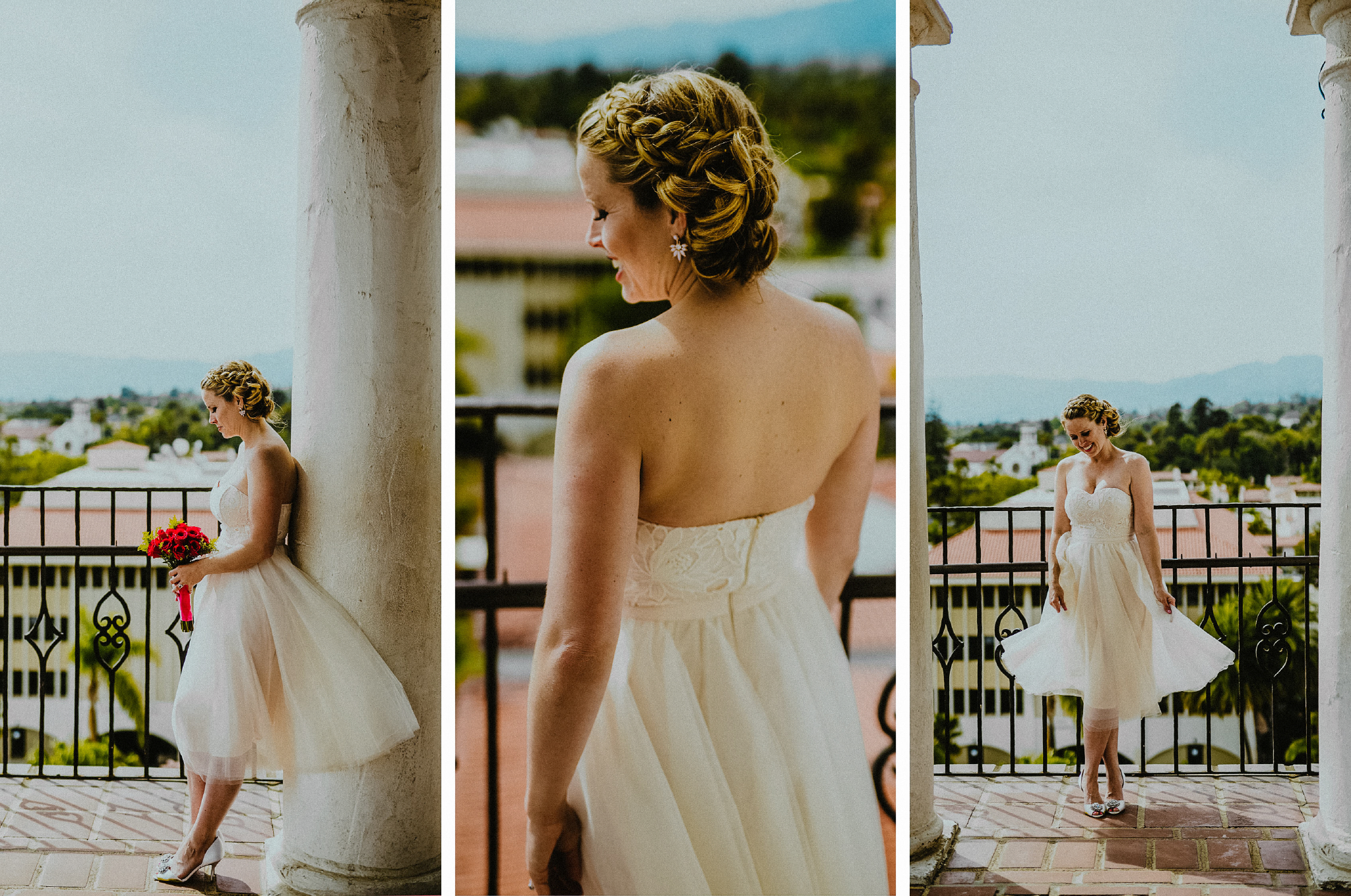 san diego wedding   photographer | collage of woman in white dress posing near railing