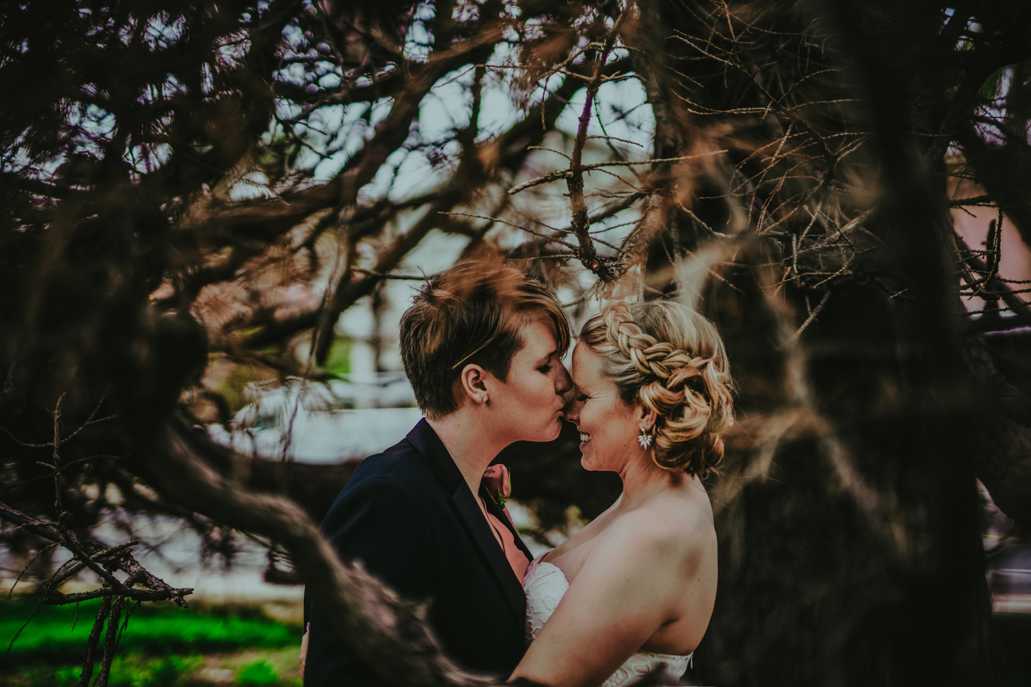 san diego wedding   photographer | woman kissing woman's nose under tree
