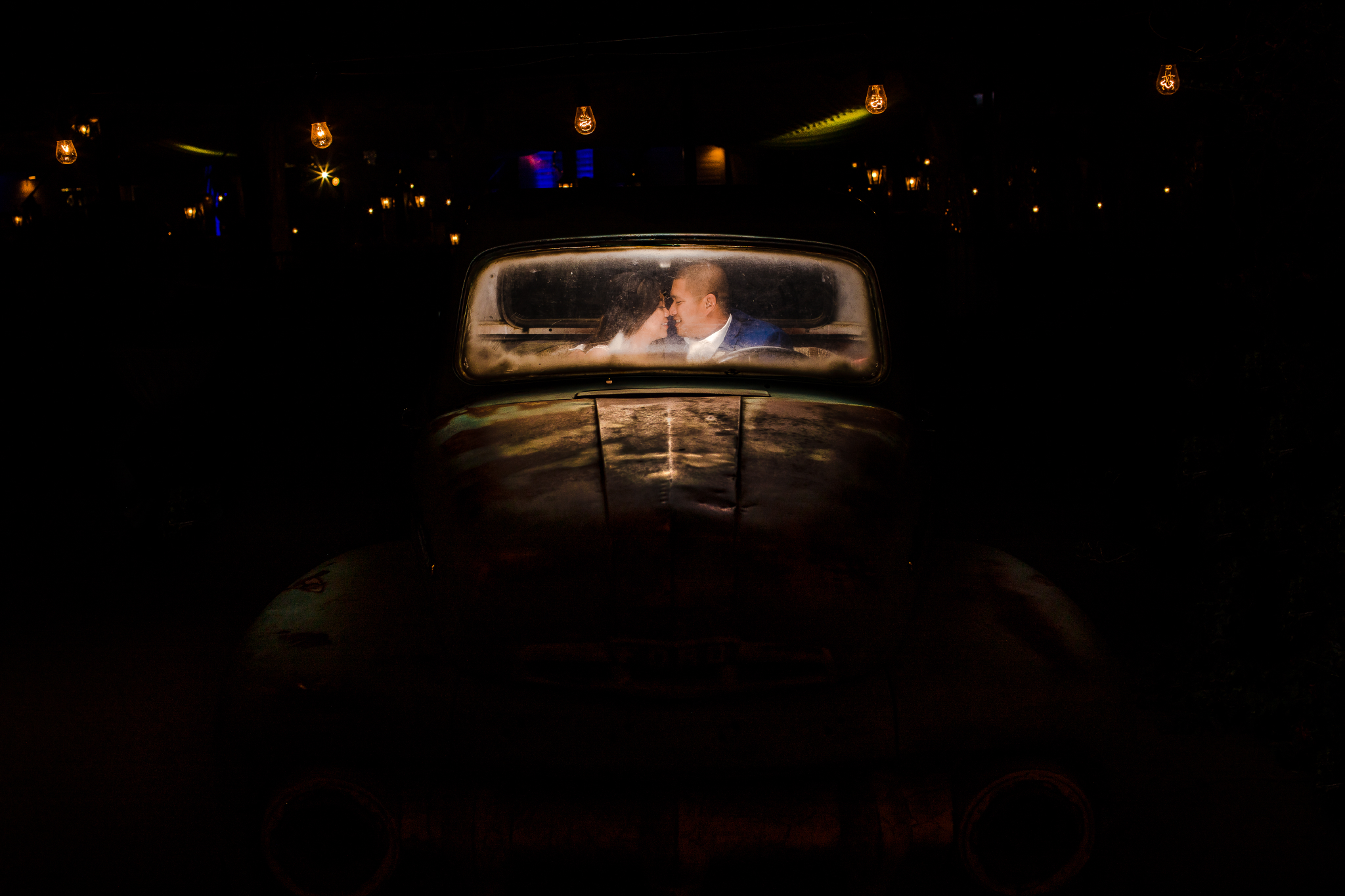 san diego wedding   photographer | couple at night in car