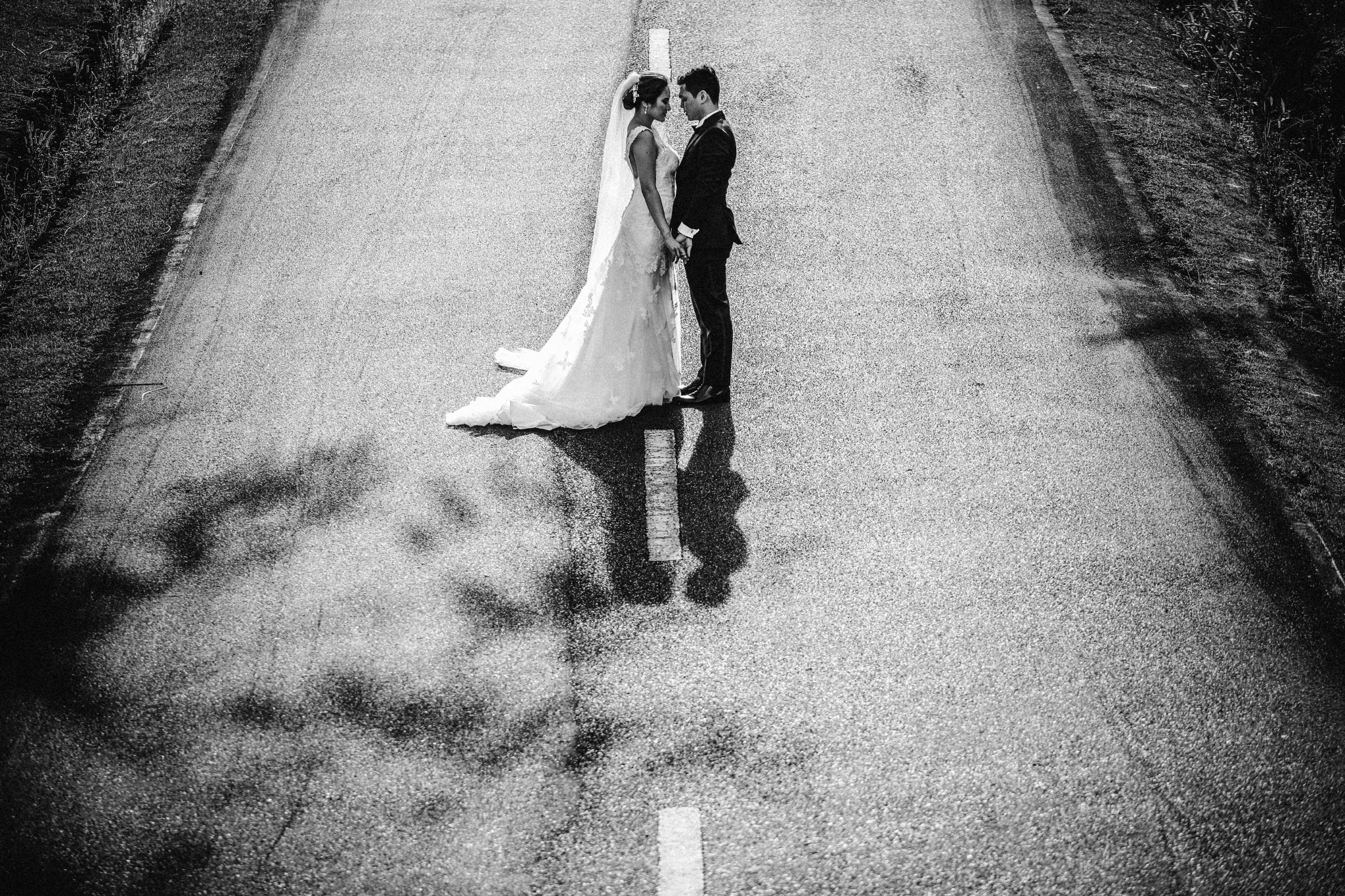 san diego wedding   photographer | couple looking at each other in the middle of the road