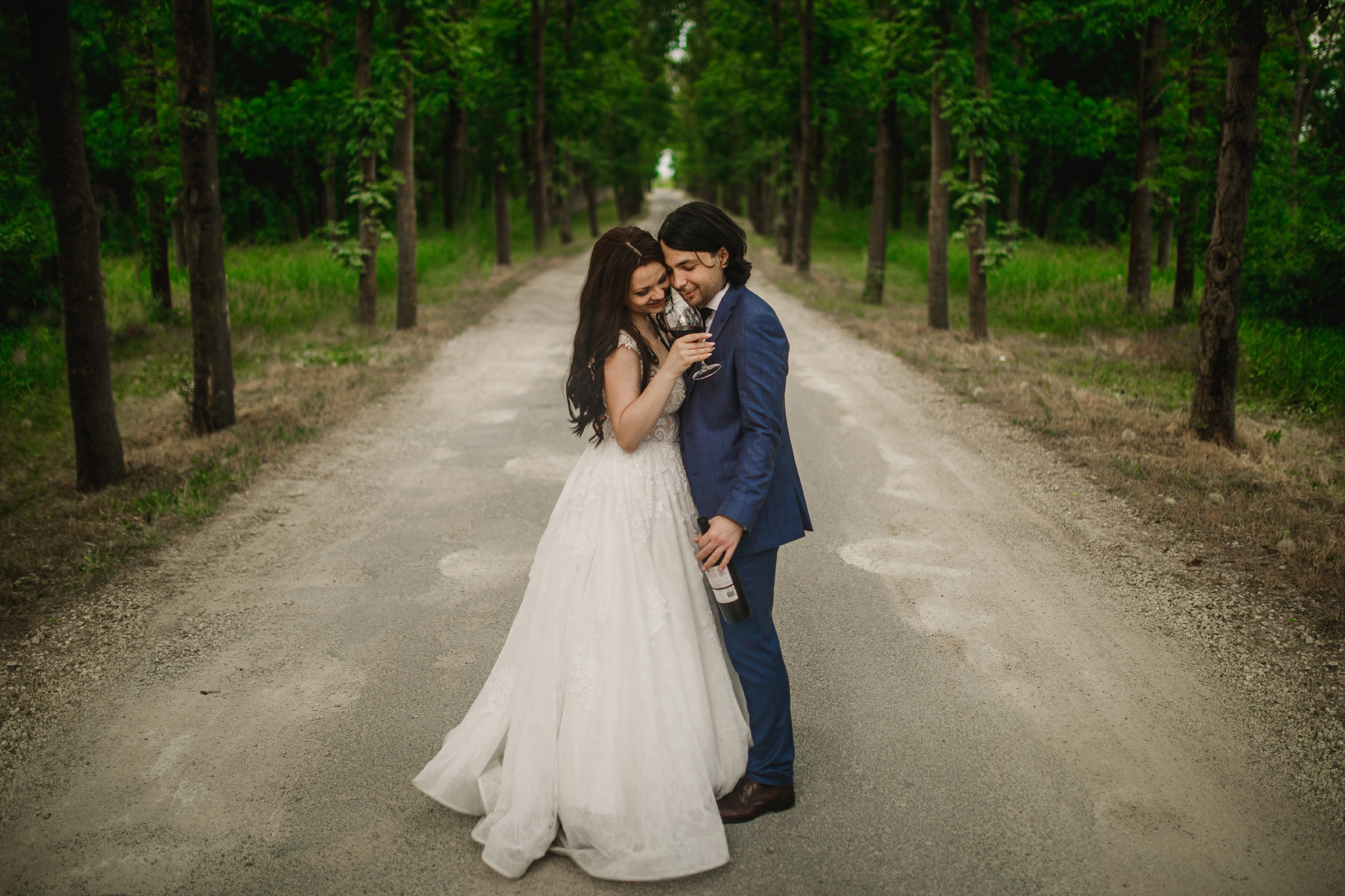 san diego wedding   photographer | couple with glass of wine in the middle of the road
