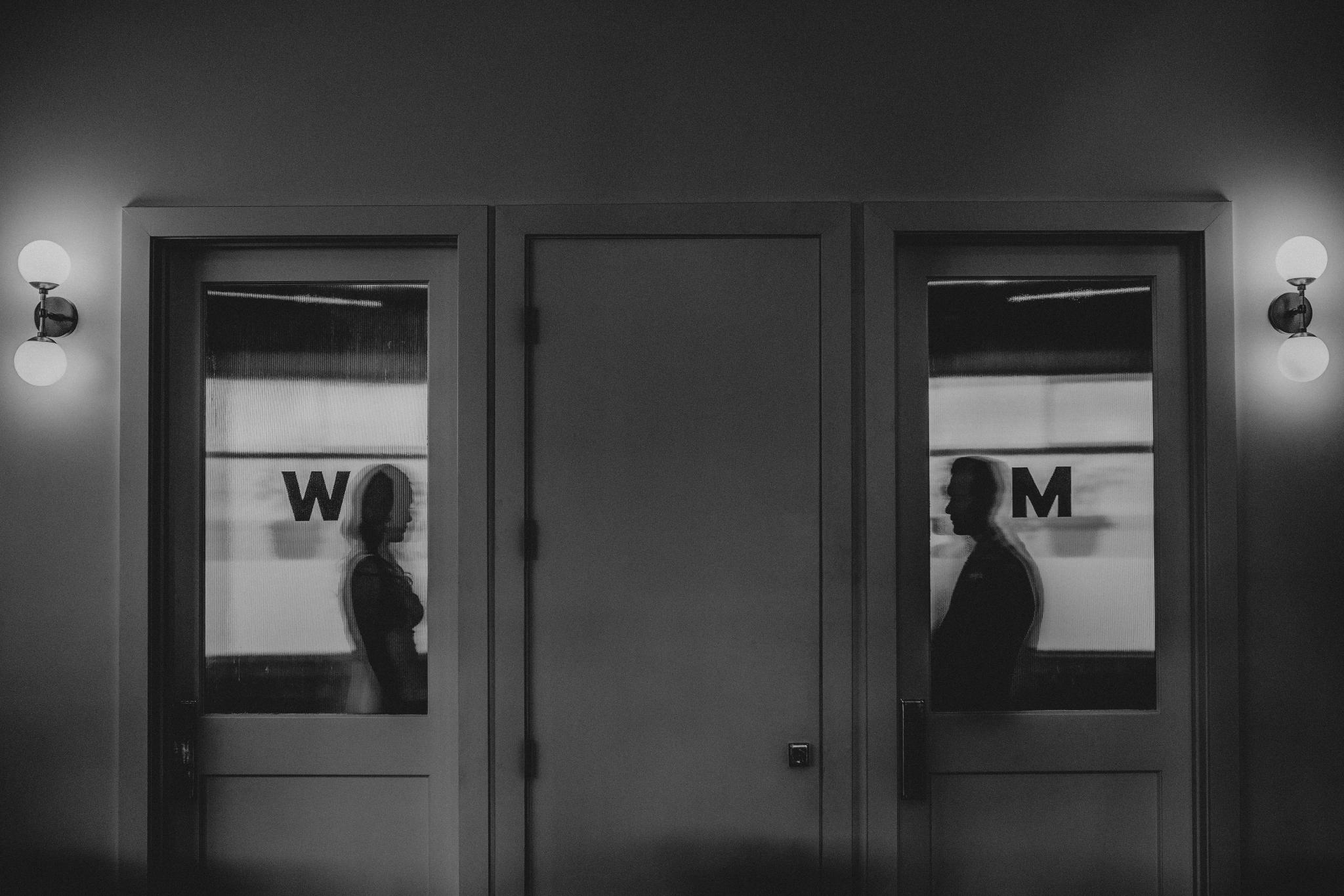 san diego wedding   photographer | man and woman seen through opaque window