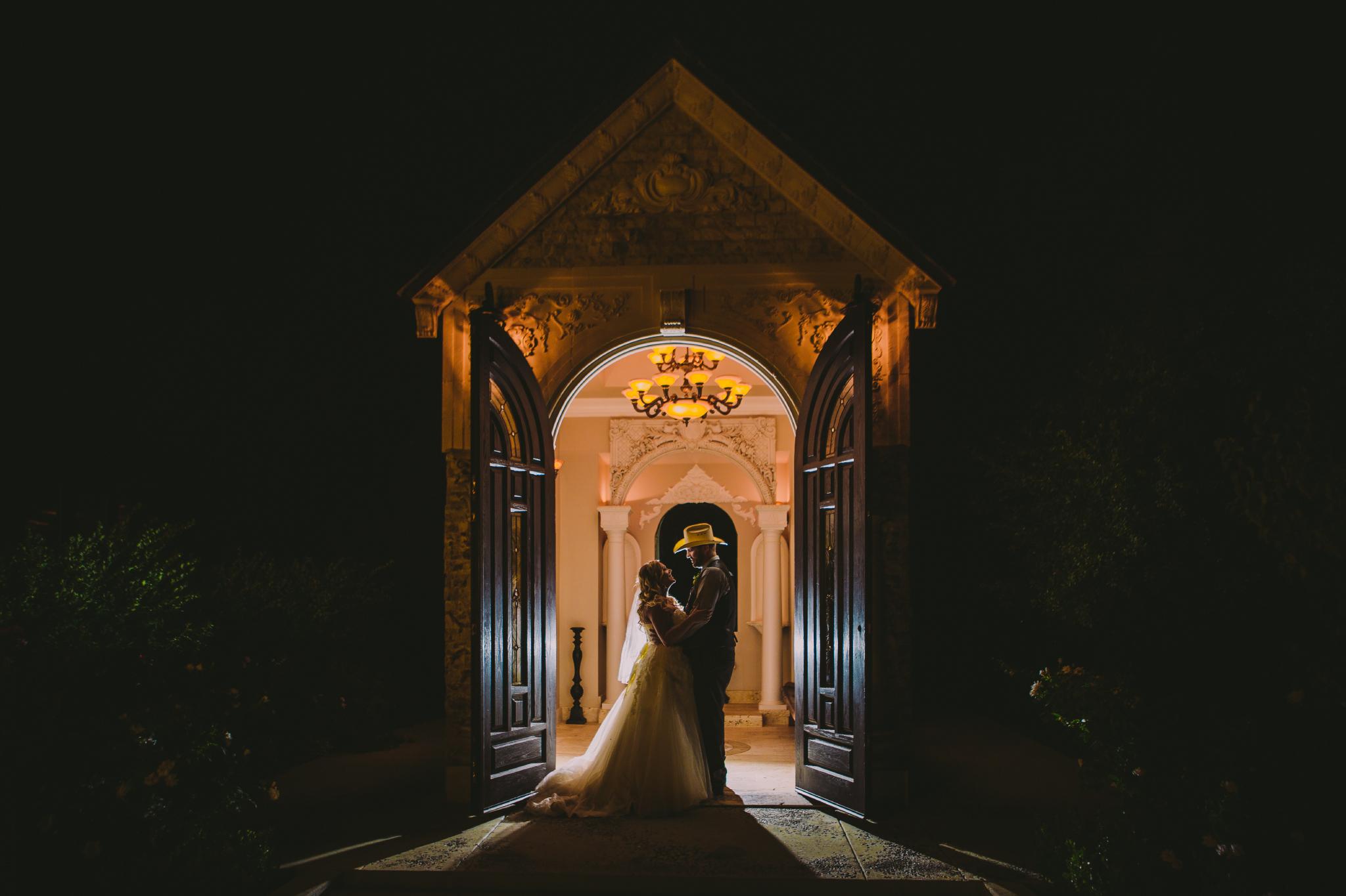 san diego wedding   photographer | couple in front of chapel doors