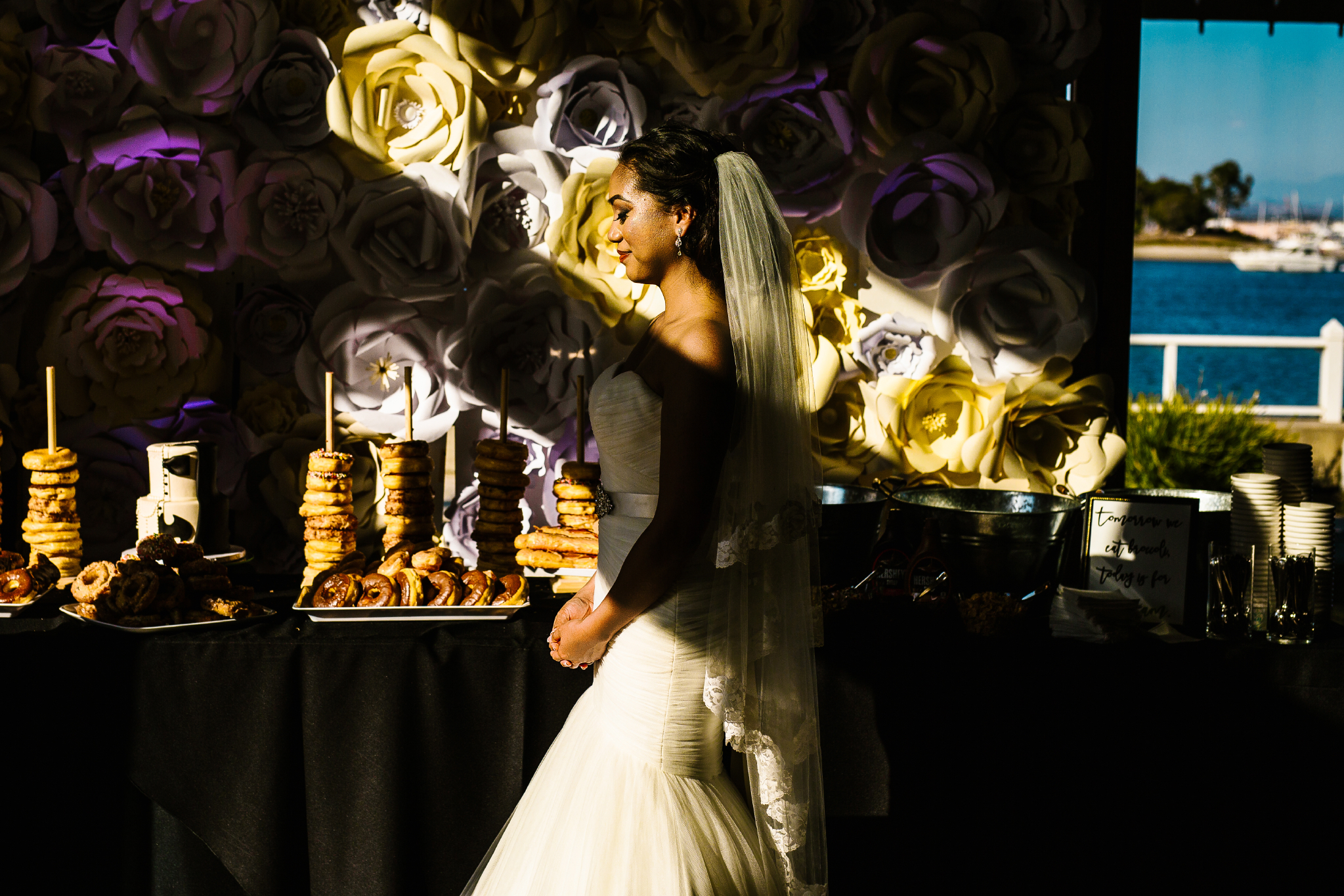 san diego wedding   photographer | woman in dress in front of food