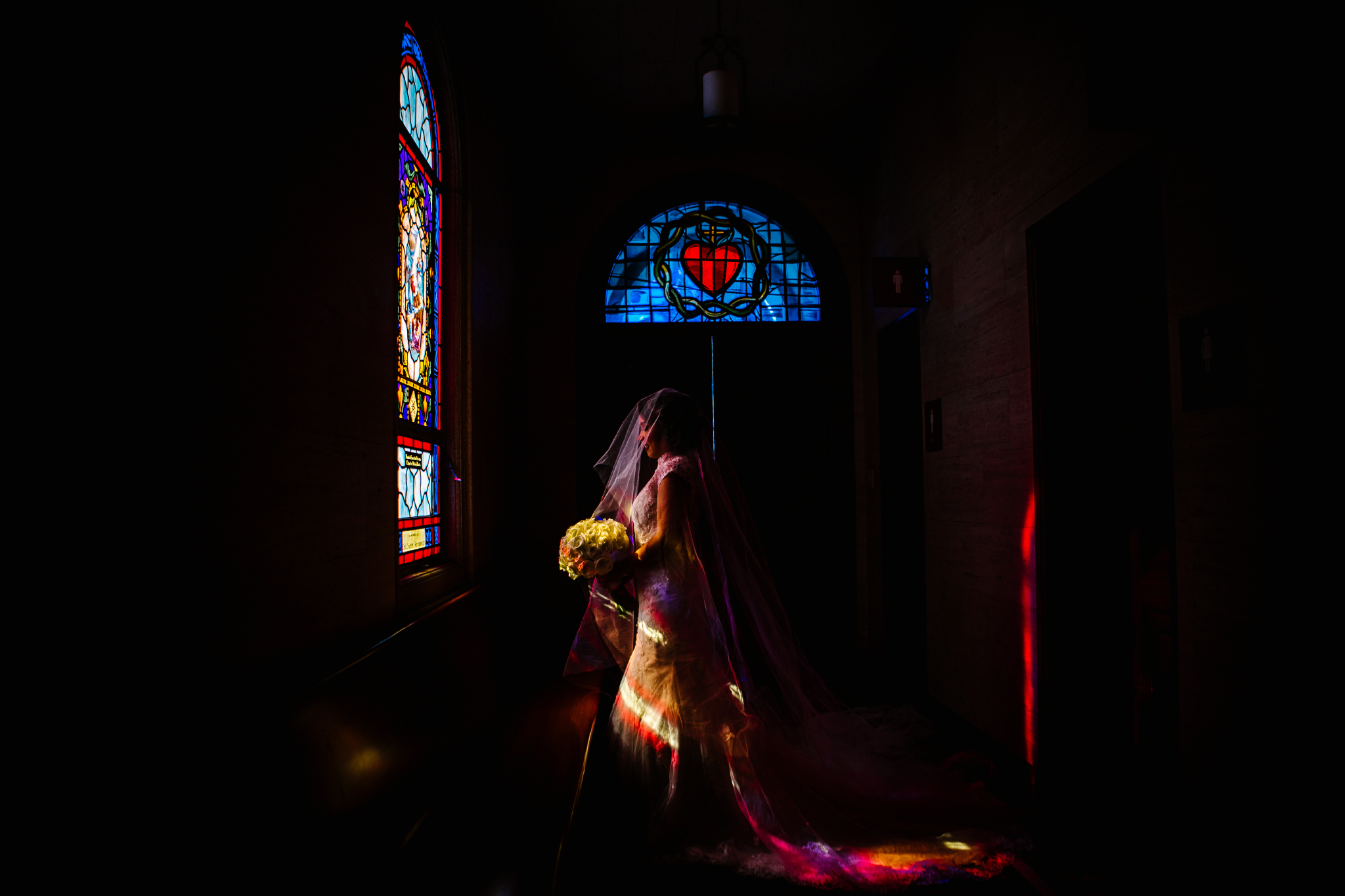 san diego wedding   photographer | woman in chapel with stained glass