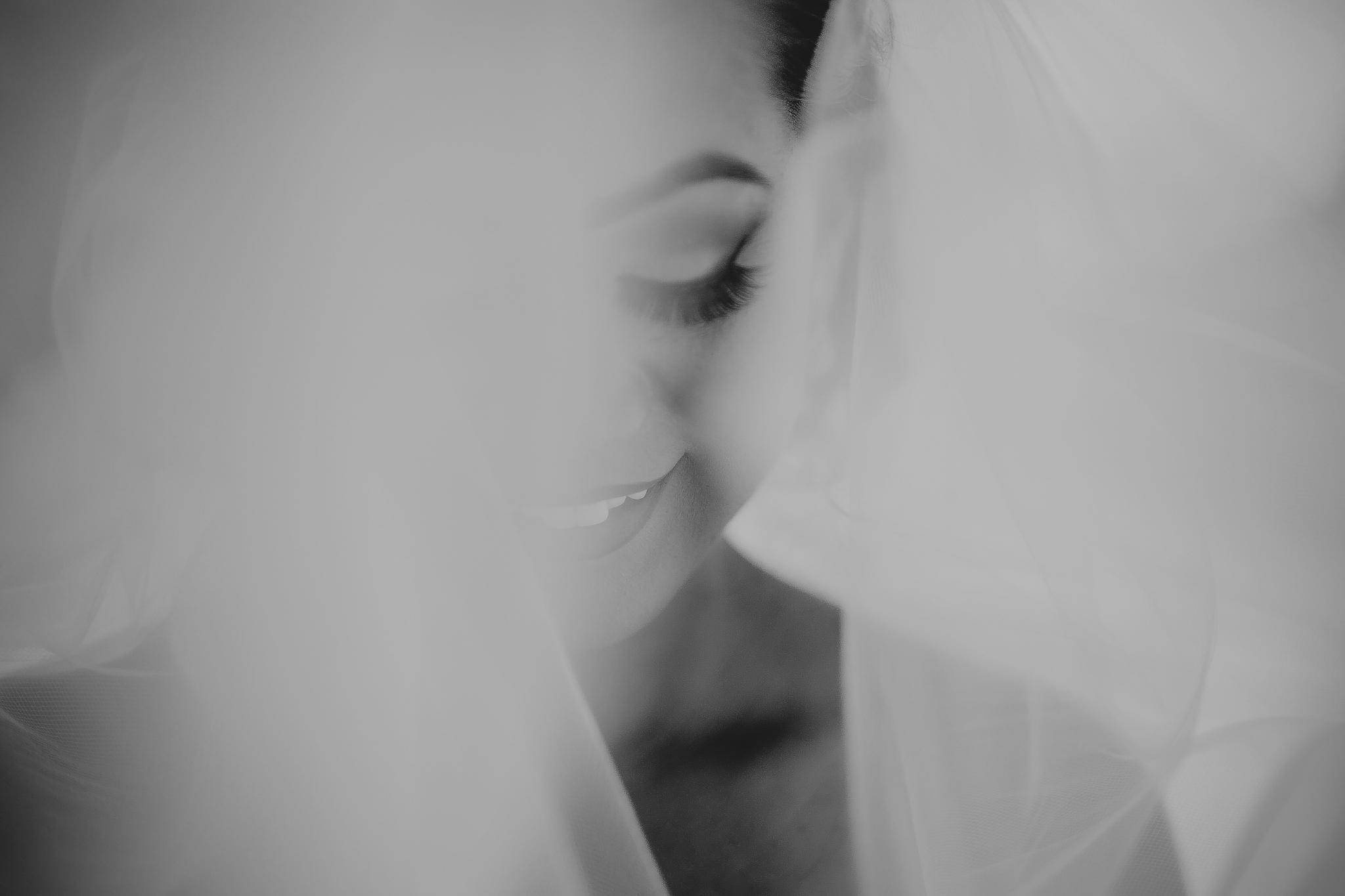 san diego wedding   photographer | woman smiling looking down behind veil