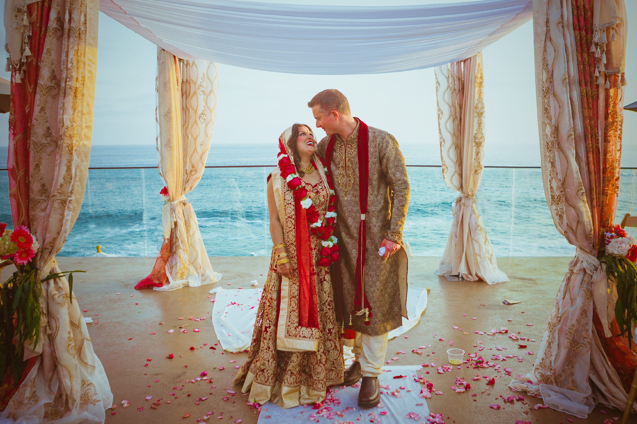 san diego wedding   photographer | couple in traditional surrounded by petals