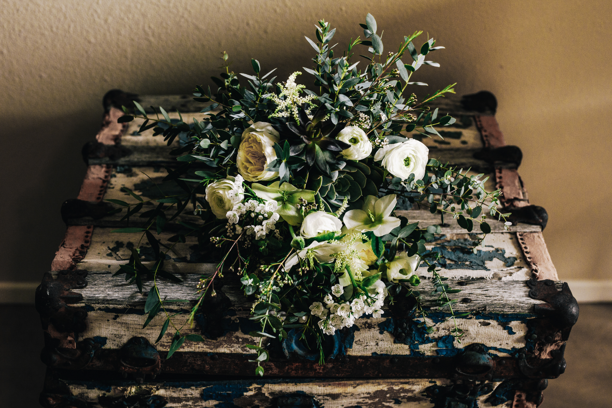 san diego wedding   photographer | bouquet of flowers on an old chest