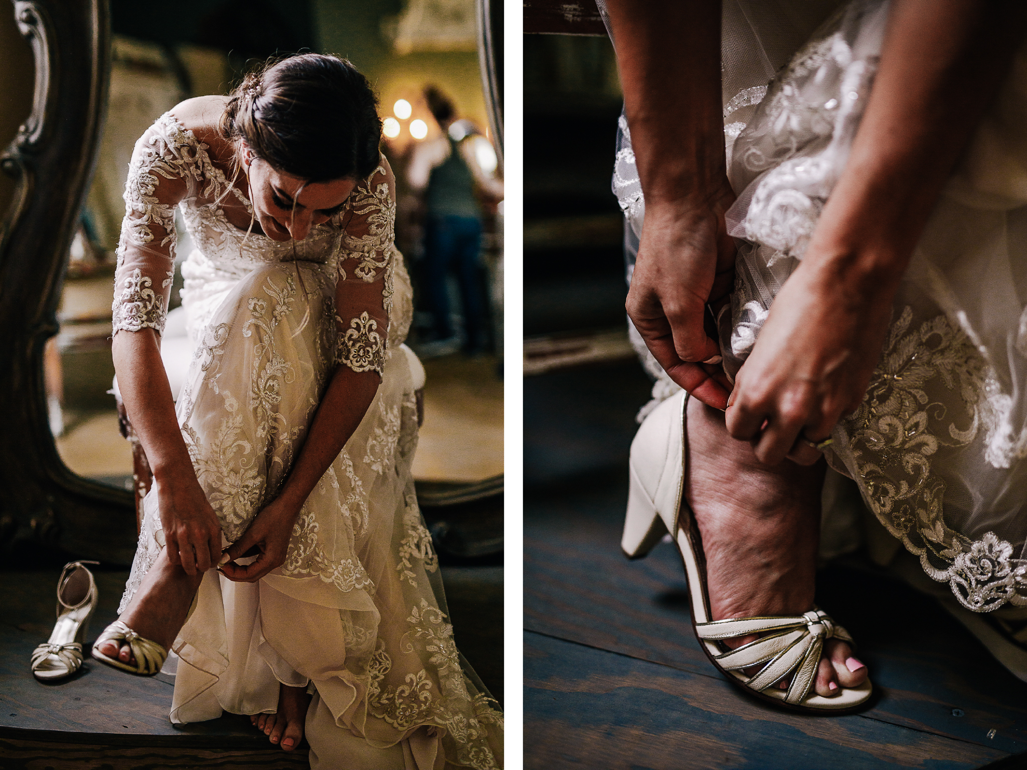 san diego wedding   photographer | bride putting on white shoes while sitting down