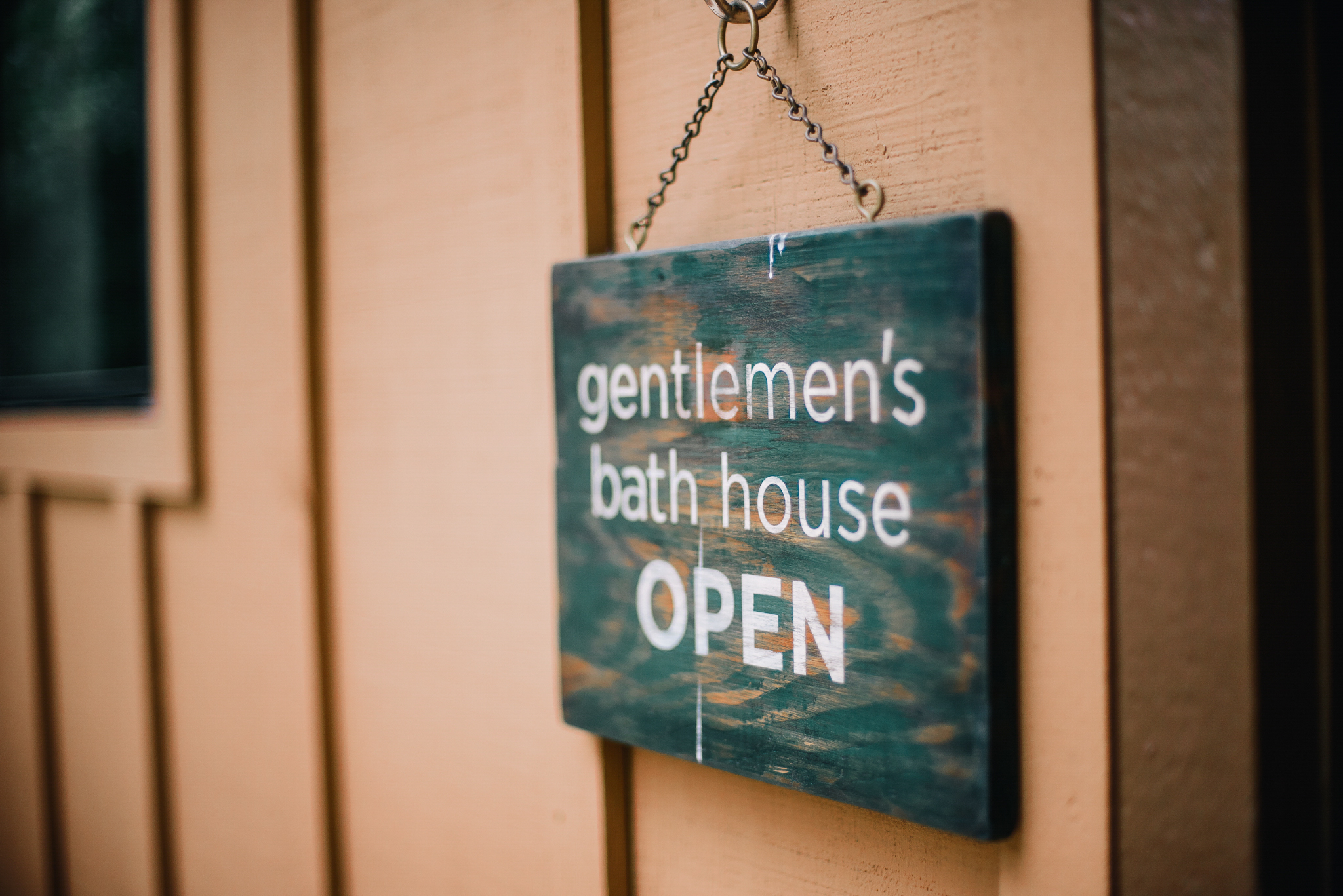 san diego wedding   photographer | sign for men's bath house