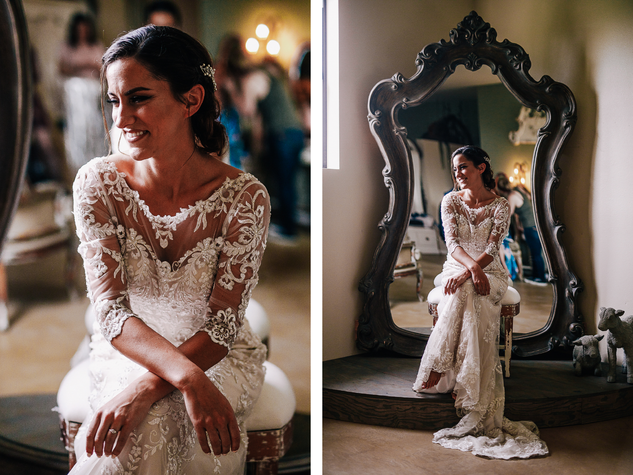 san diego wedding   photographer | collage of woman sitting down smiling in front of a mirror
