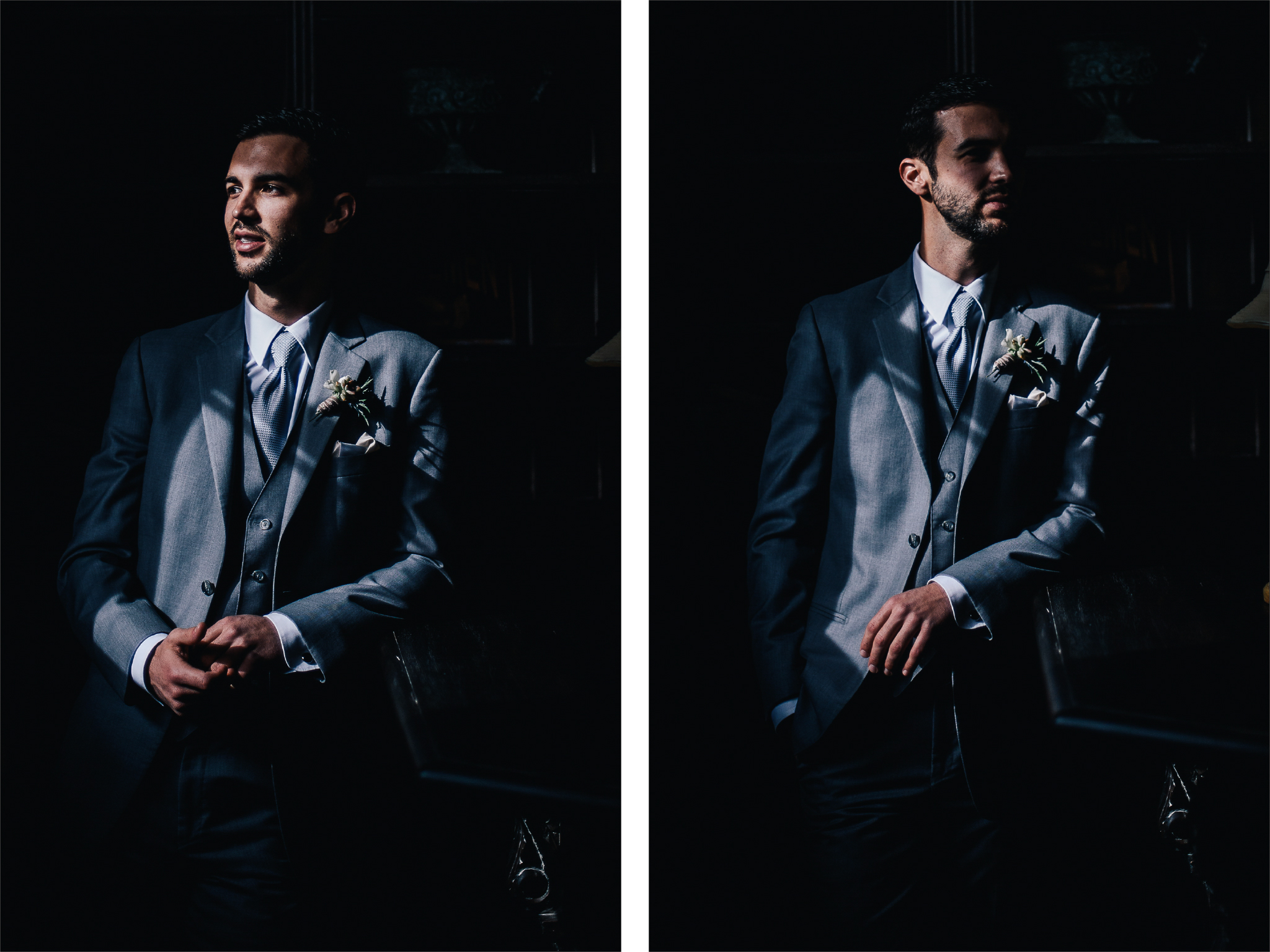 san diego wedding   photographer | collage of man in grey suit leaning on a table looking to his   side