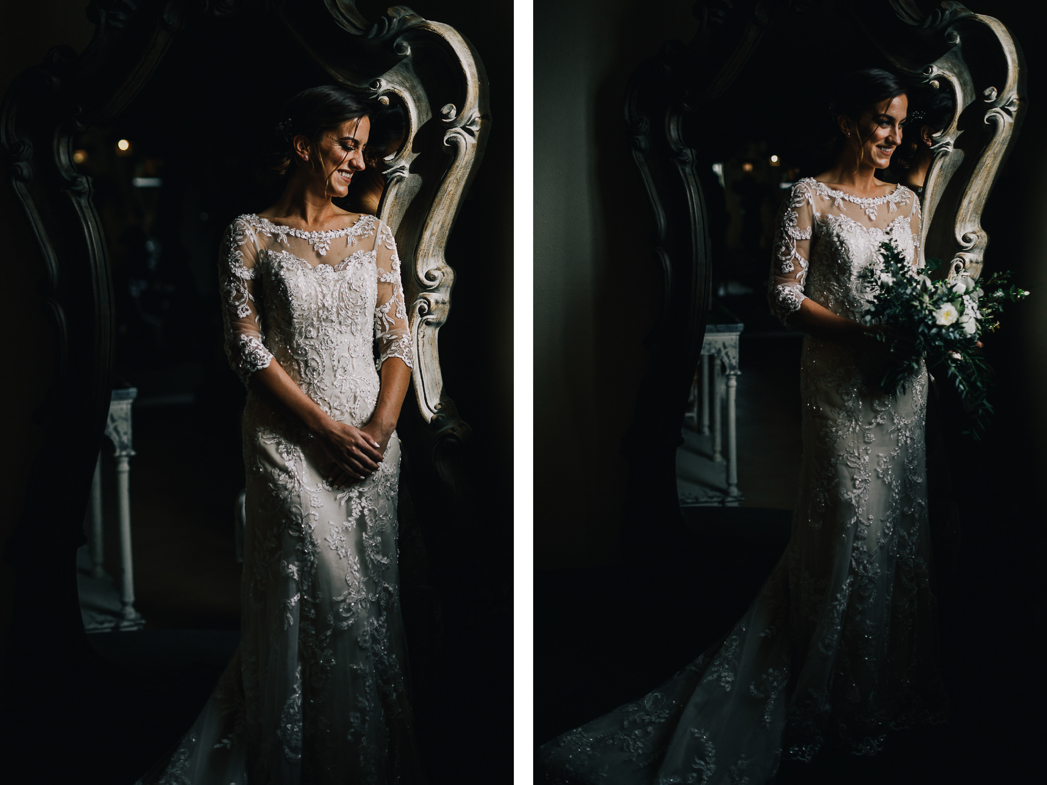 san diego wedding   photographer | collage of bride in weddding dress smiling while holding   bouquet of flowers standing in front of mirror