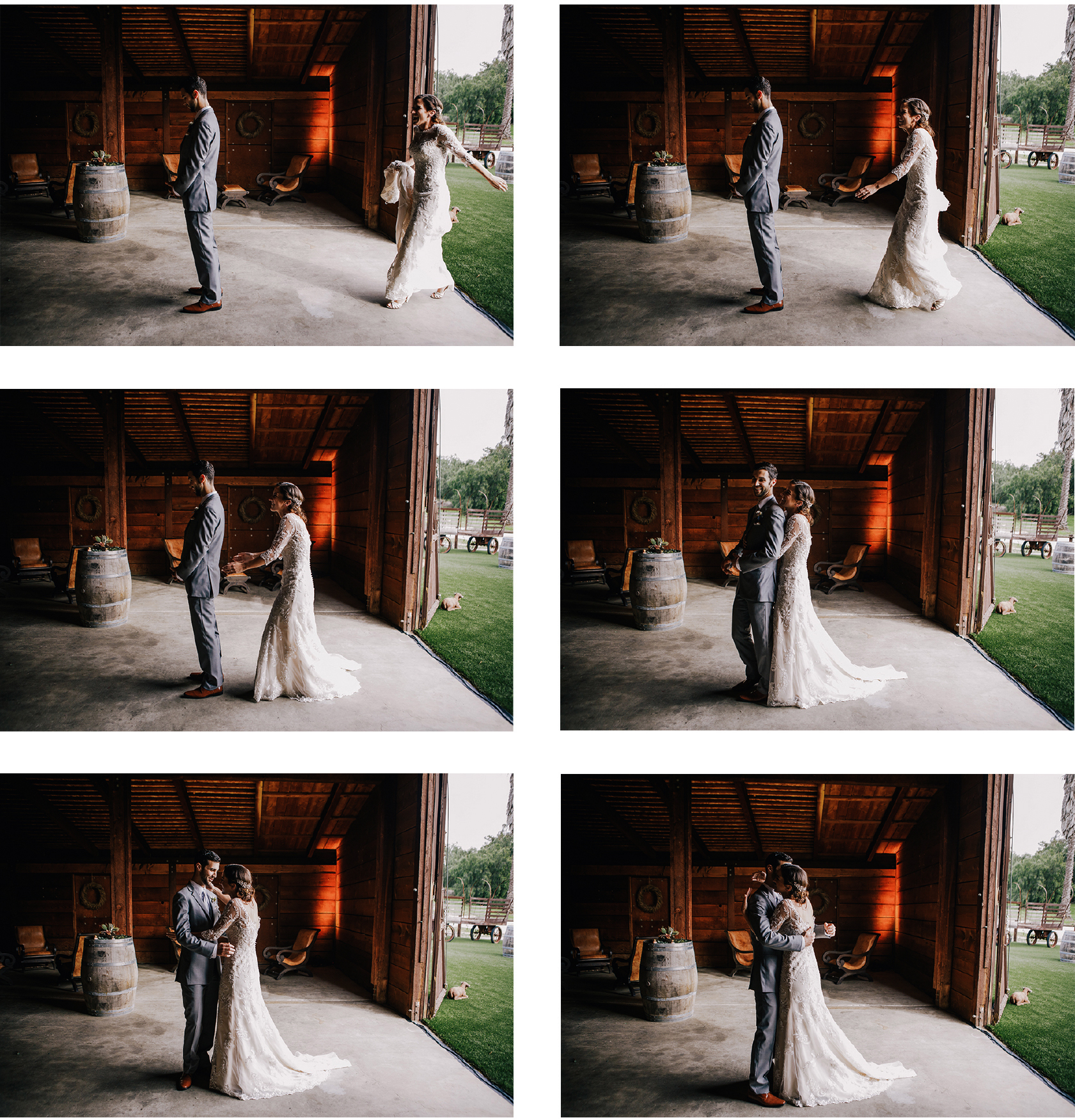 san diego wedding   photographer | collage of bride and groom in barn with bride surprising groom   from behind