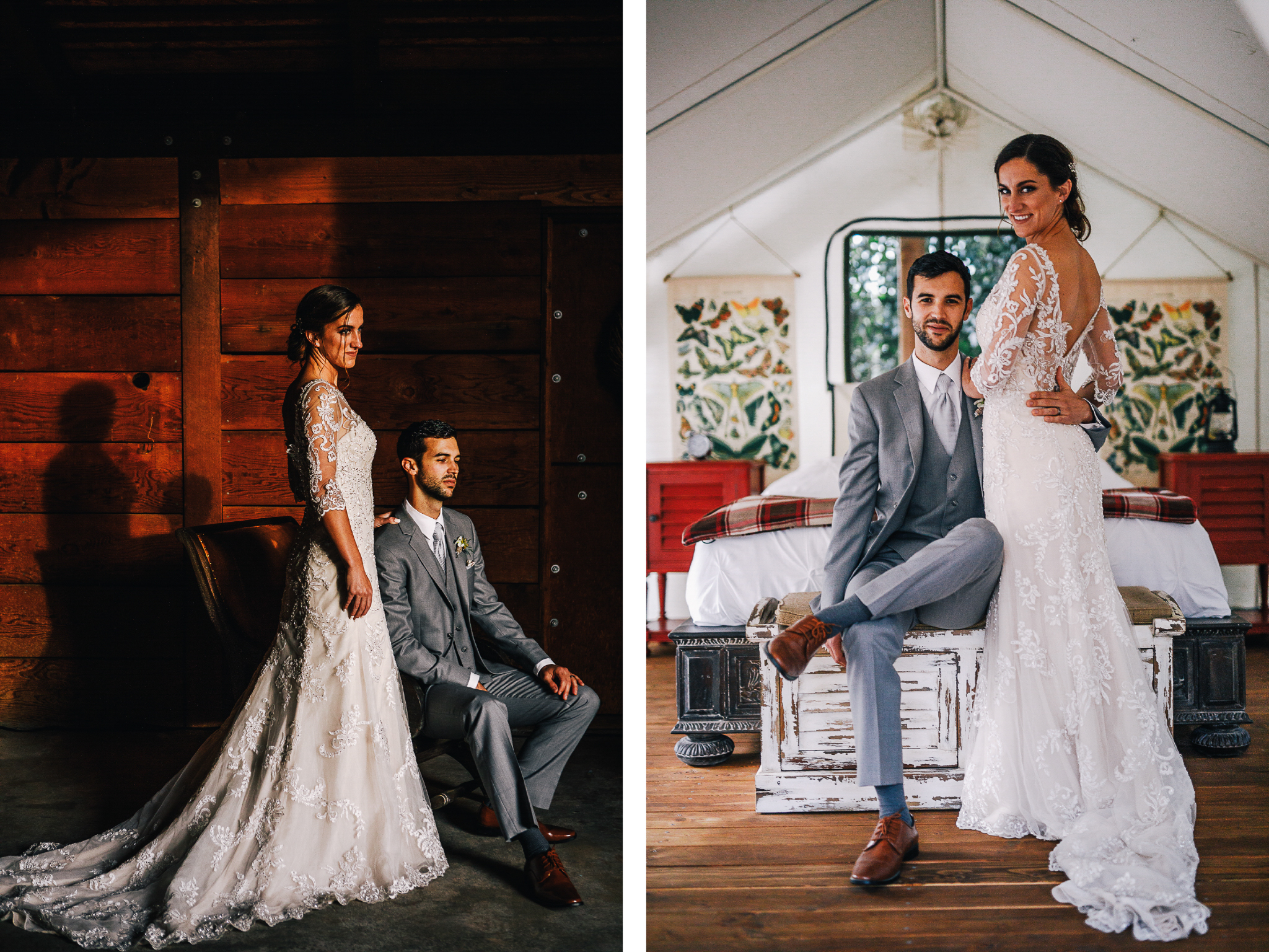 san diego wedding   photographer | collage of man sitting down with bride standing up beside him   in barn