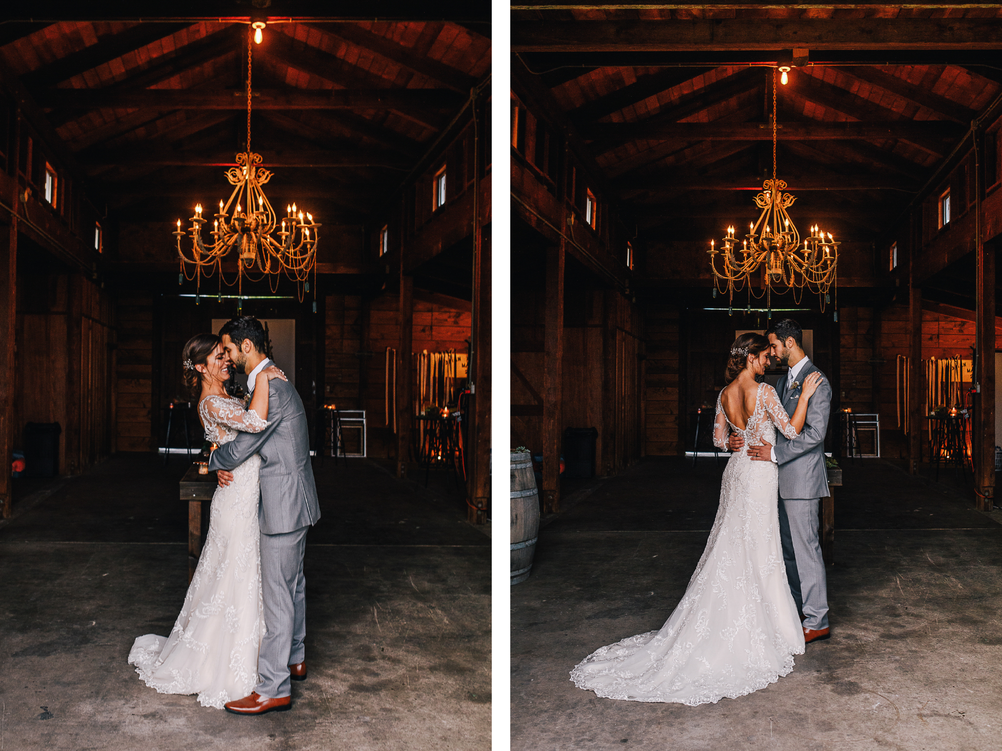san diego wedding   photographer | collage of bride and groom standing in front of each other in   barn under chandelier