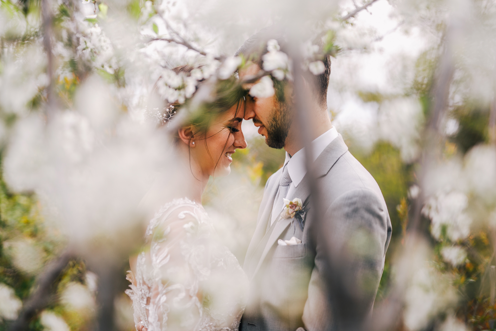 san diego wedding   photographer | man in gray suit standing close in front of woman in white   dress seen through branches with flowers