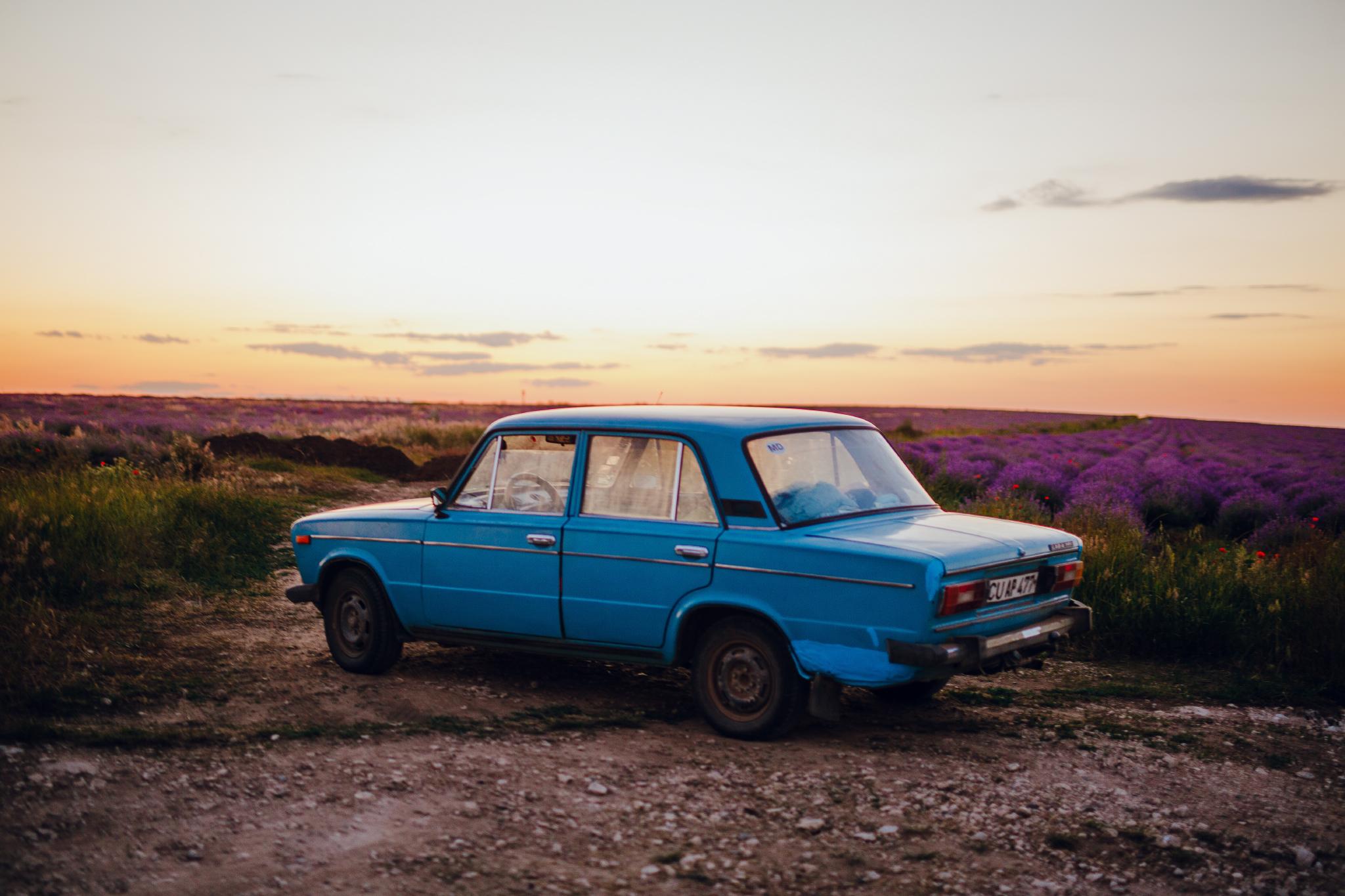 san diego wedding   photographer | blue car in lavender fields against blue-orange sky