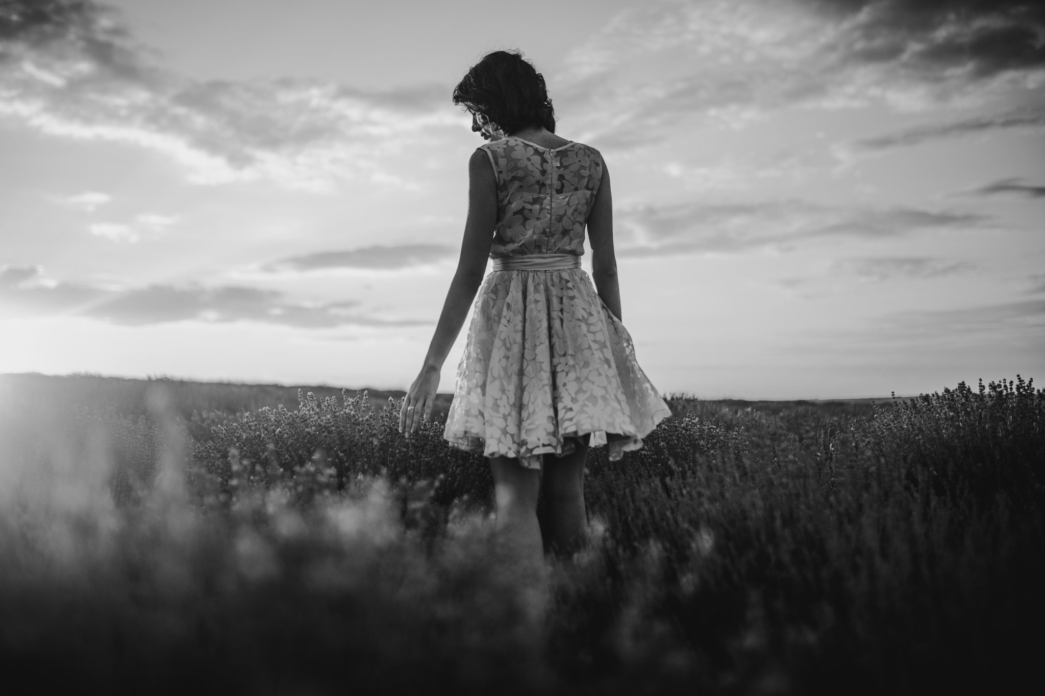 san diego wedding   photographer | monotone shot of woman in pink floral dress standing in   lavender fields