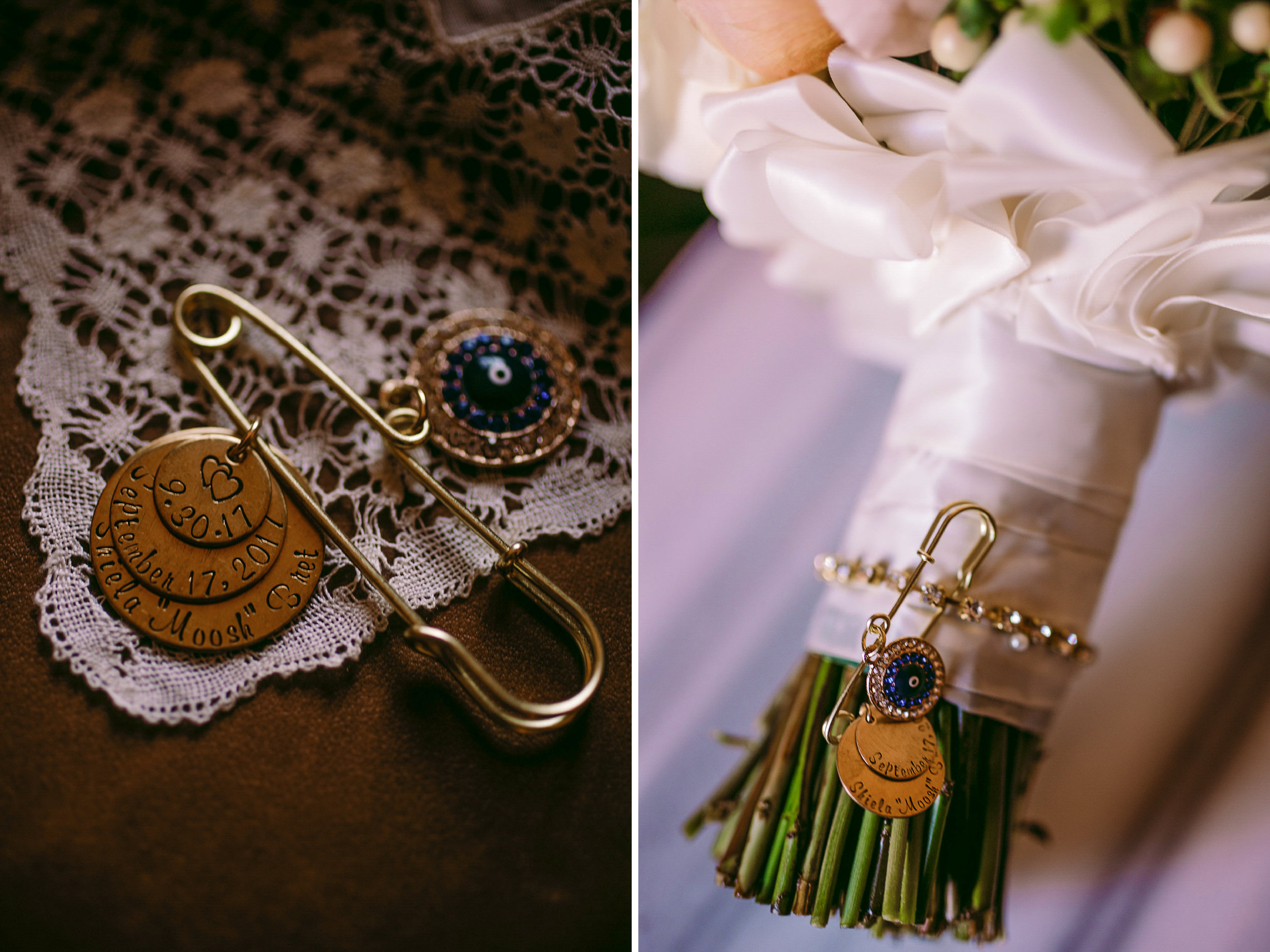 san diego wedding   photographer | jewelry with words engraved on it attached to a pin