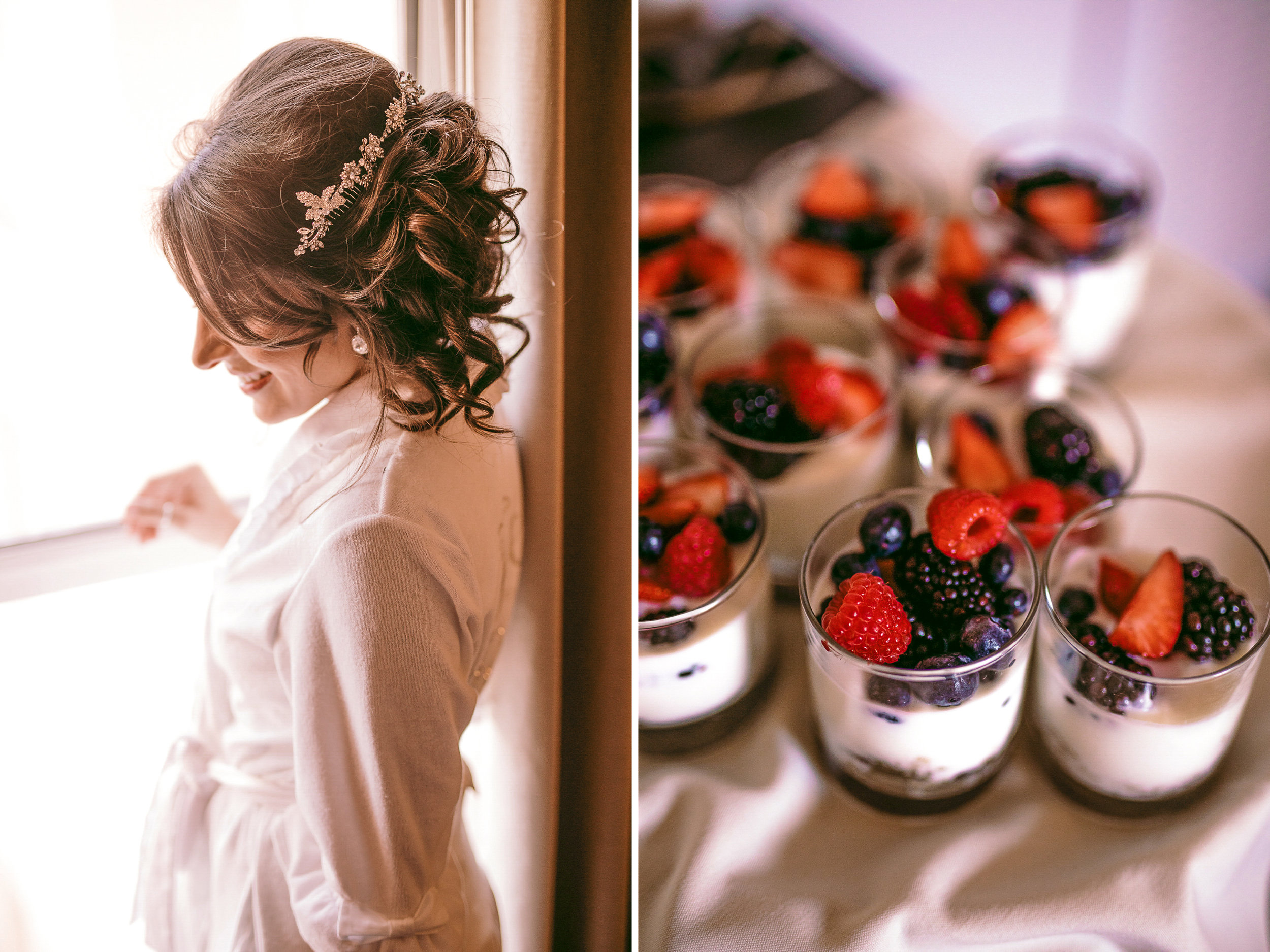 san diego wedding   photographer | collage of woman in bathrobe looking down to her side and with   desserts with berries