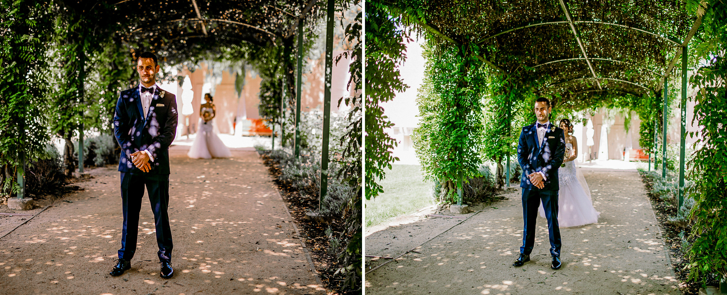 san diego wedding   photographer | collage of man in suit with woman behind her under walkway   with plants