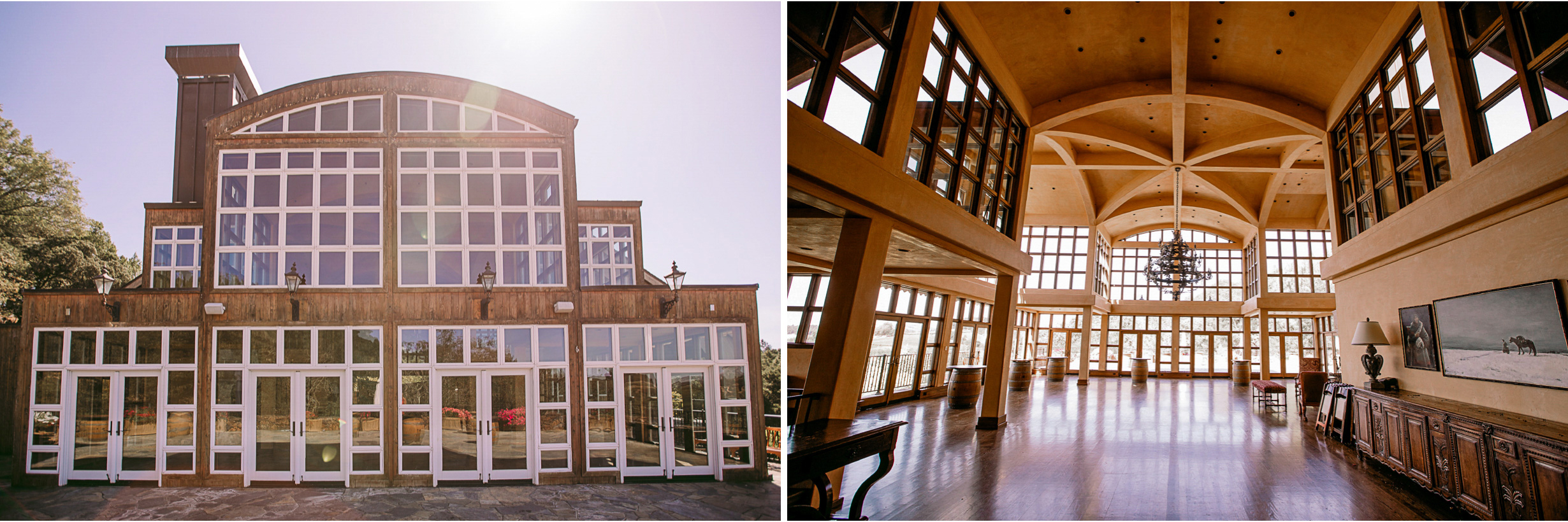 san diego wedding   photographer | collage of outside of building with glass windows and   interior