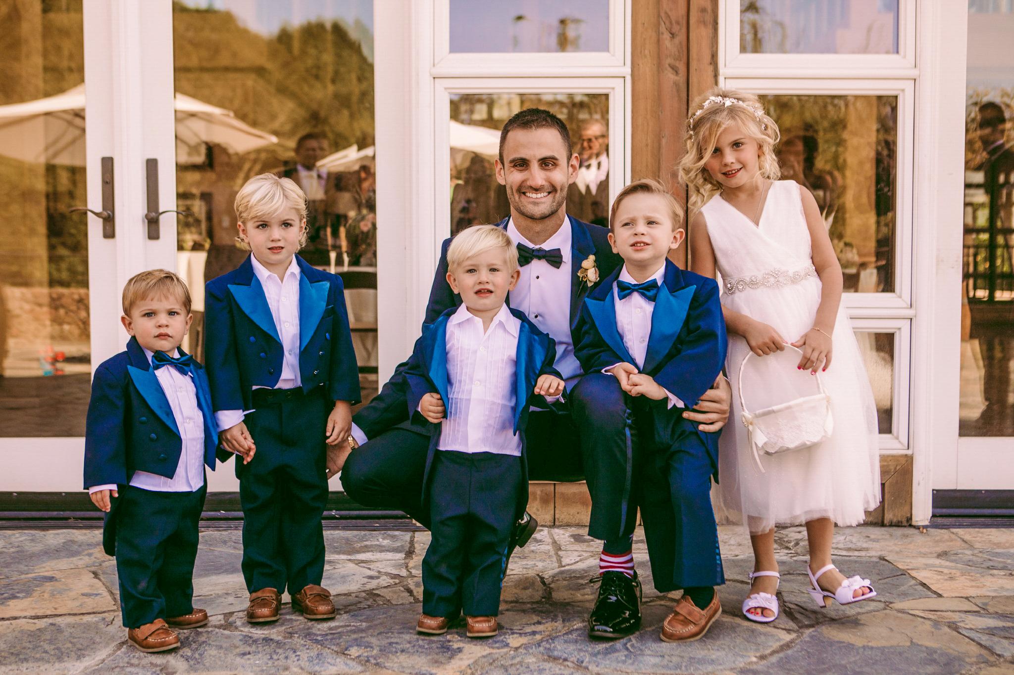 san diego wedding   photographer | man in blue suit with children in formal attire