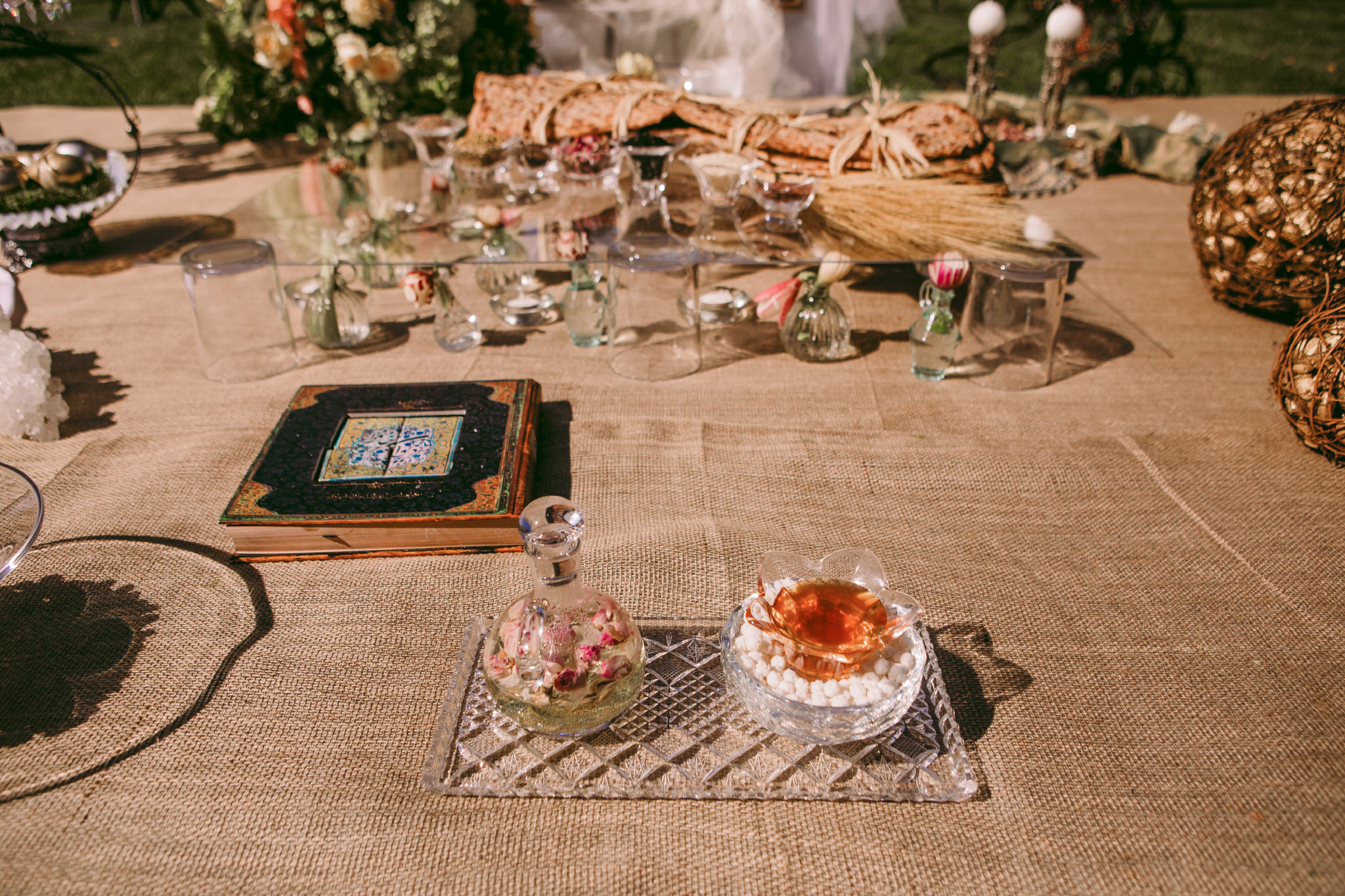 san diego wedding   photographer | table set-up with glass flower and book