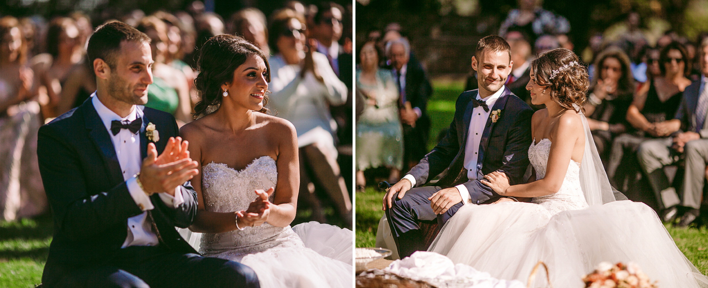 san diego wedding   photographer | collage of married couple sitting down in front of crowd