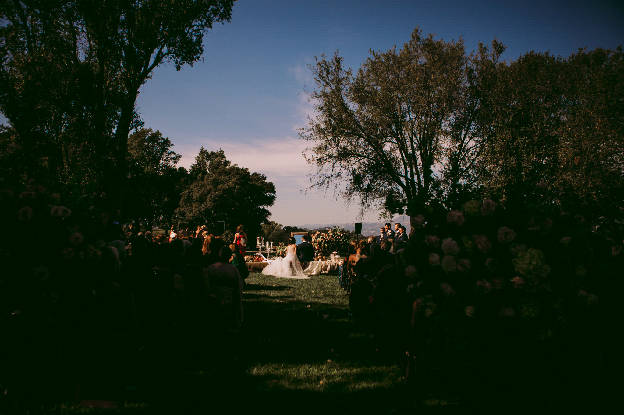 san diego wedding   photographer | view of married couple down the aisle